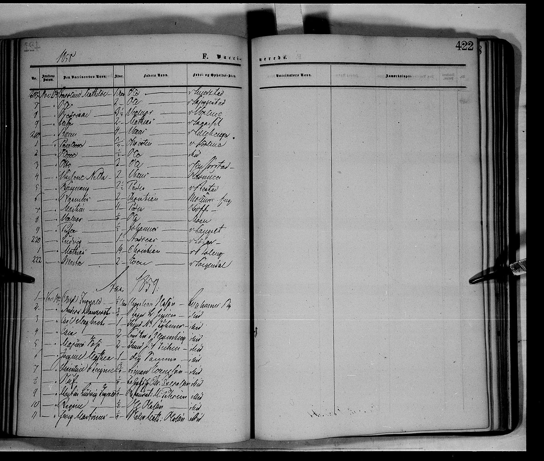 SAH, Fåberg prestekontor, Ministerialbok nr. 6B, 1855-1867, s. 422