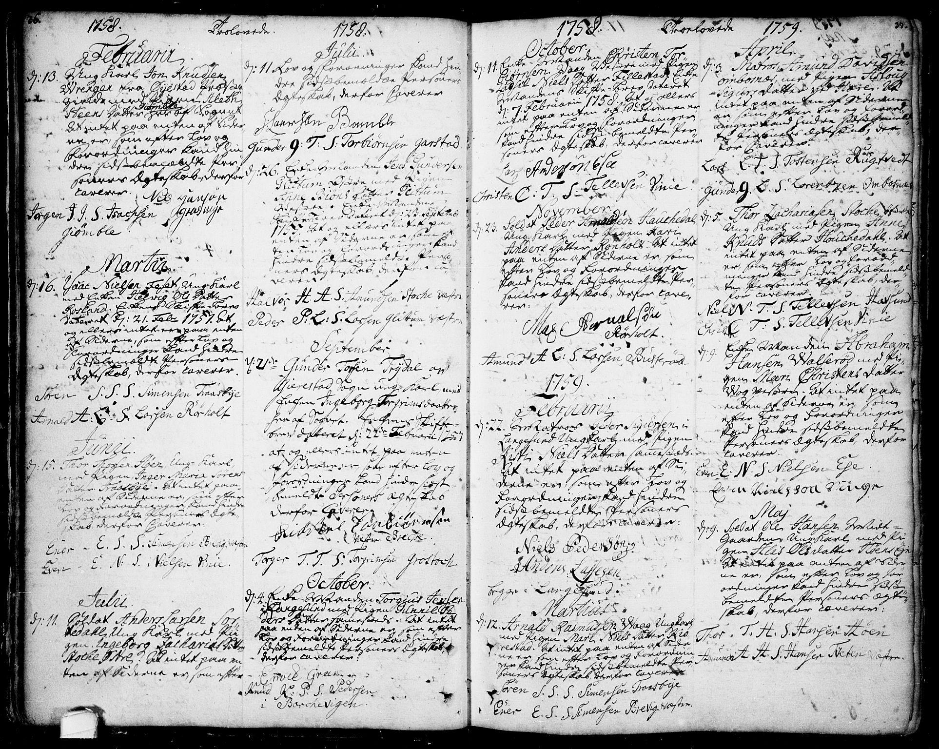 SAKO, Bamble kirkebøker, F/Fa/L0001: Ministerialbok nr. I 1, 1702-1774, s. 36-37