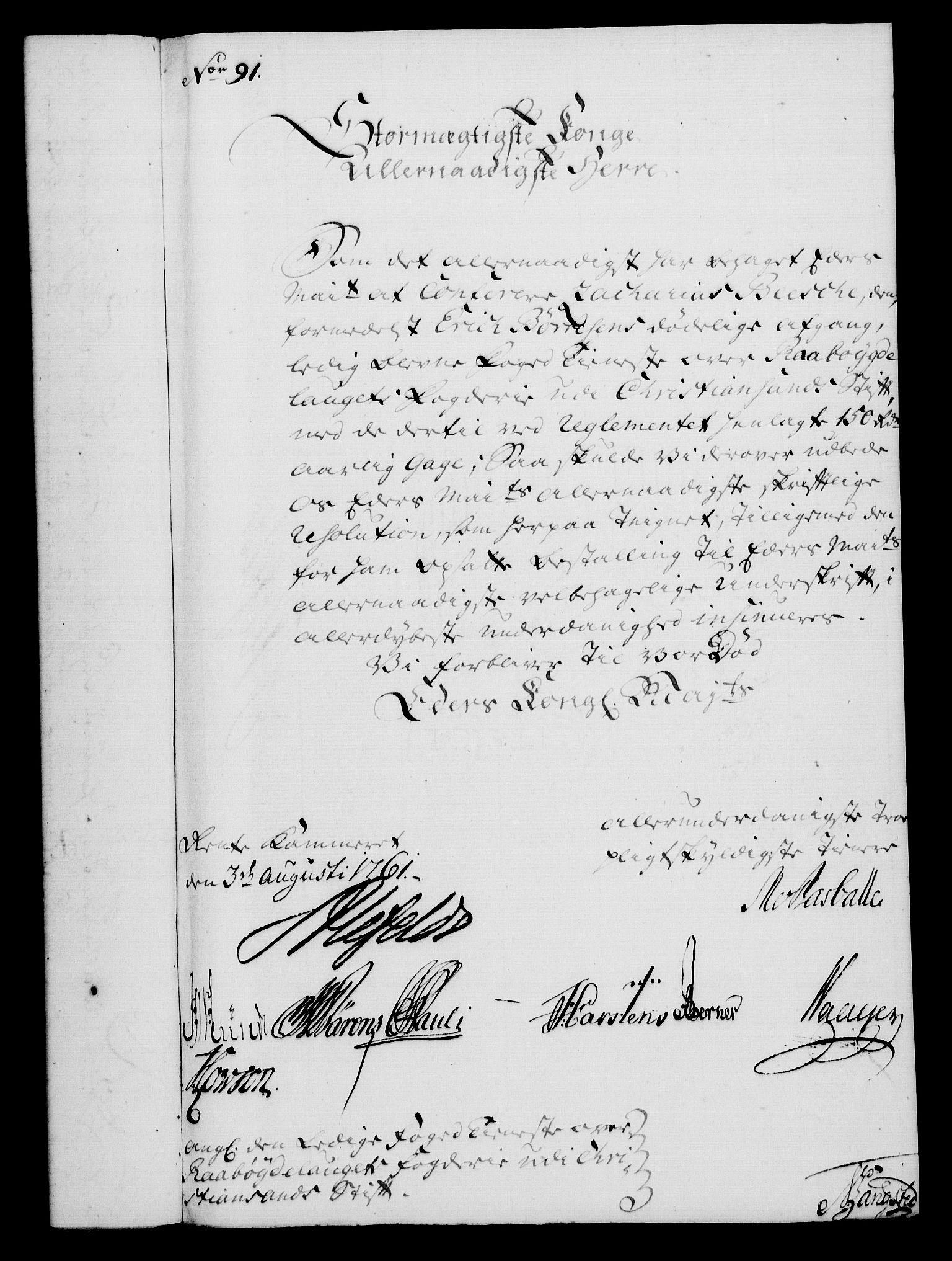 RA, Rentekammeret, Kammerkanselliet, G/Gf/Gfa/L0043: Norsk relasjons- og resolusjonsprotokoll (merket RK 52.43), 1761, s. 353