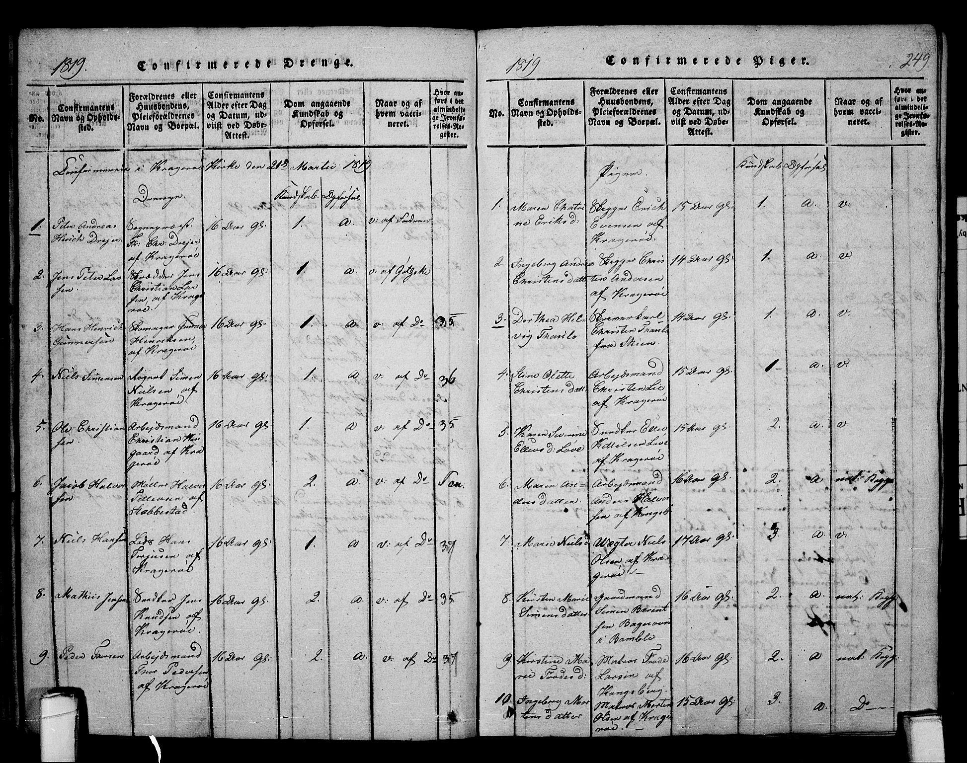 SAKO, Kragerø kirkebøker, F/Fa/L0004: Ministerialbok nr. 4, 1814-1831, s. 249