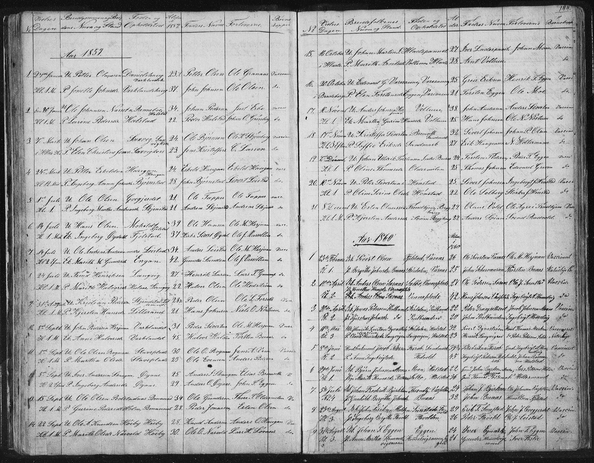 SAT, Ministerialprotokoller, klokkerbøker og fødselsregistre - Sør-Trøndelag, 616/L0406: Ministerialbok nr. 616A03, 1843-1879, s. 144