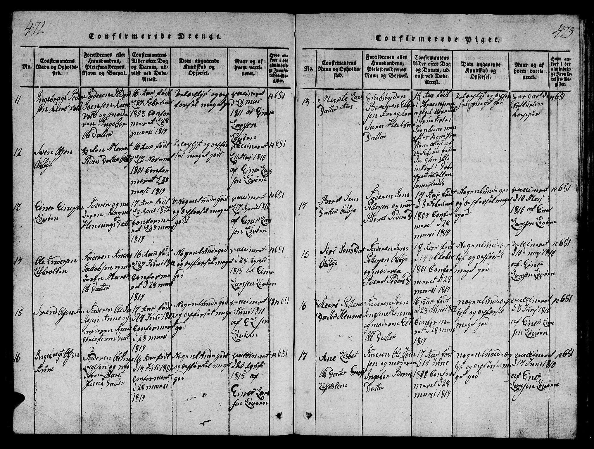 SAT, Ministerialprotokoller, klokkerbøker og fødselsregistre - Sør-Trøndelag, 698/L1164: Klokkerbok nr. 698C01, 1816-1861, s. 472-473