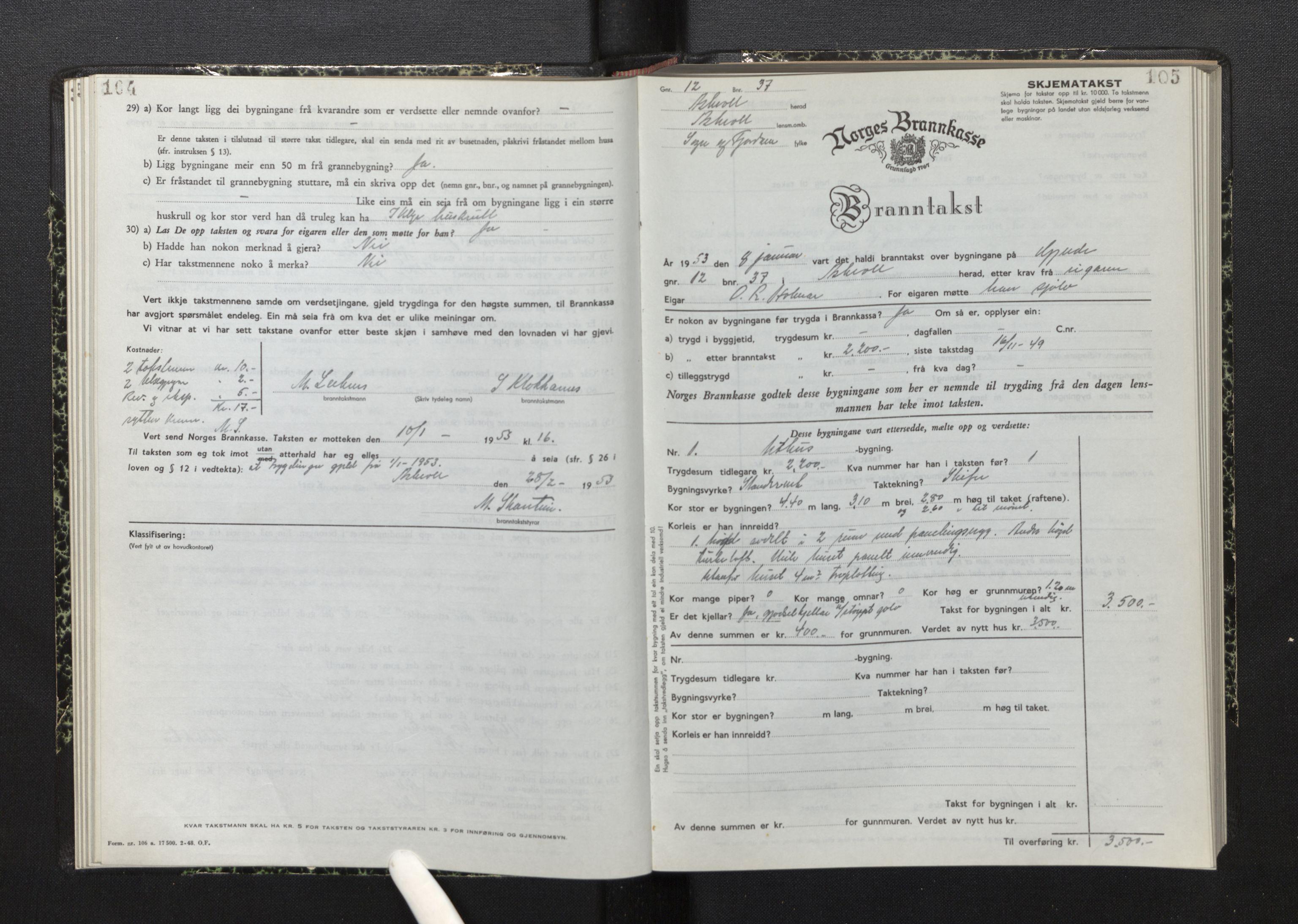 SAB, Lensmannen i Askvoll, 0012/L0006: Branntakstprotokoll, skjematakst, 1950-1955, s. 104-105