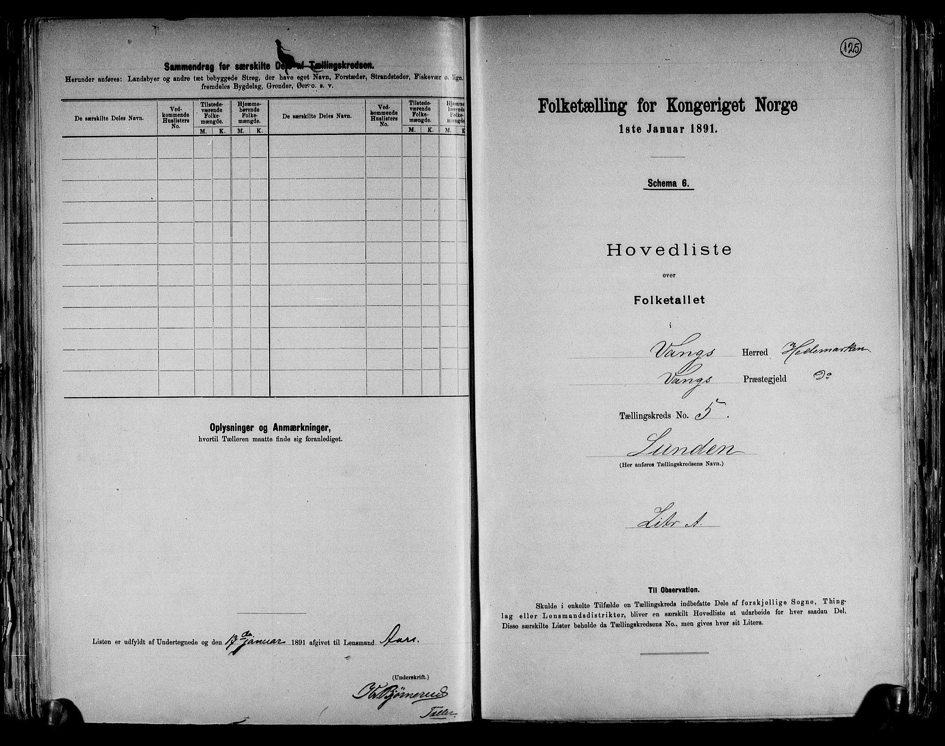 RA, Folketelling 1891 for 0414 Vang herred, 1891, s. 21