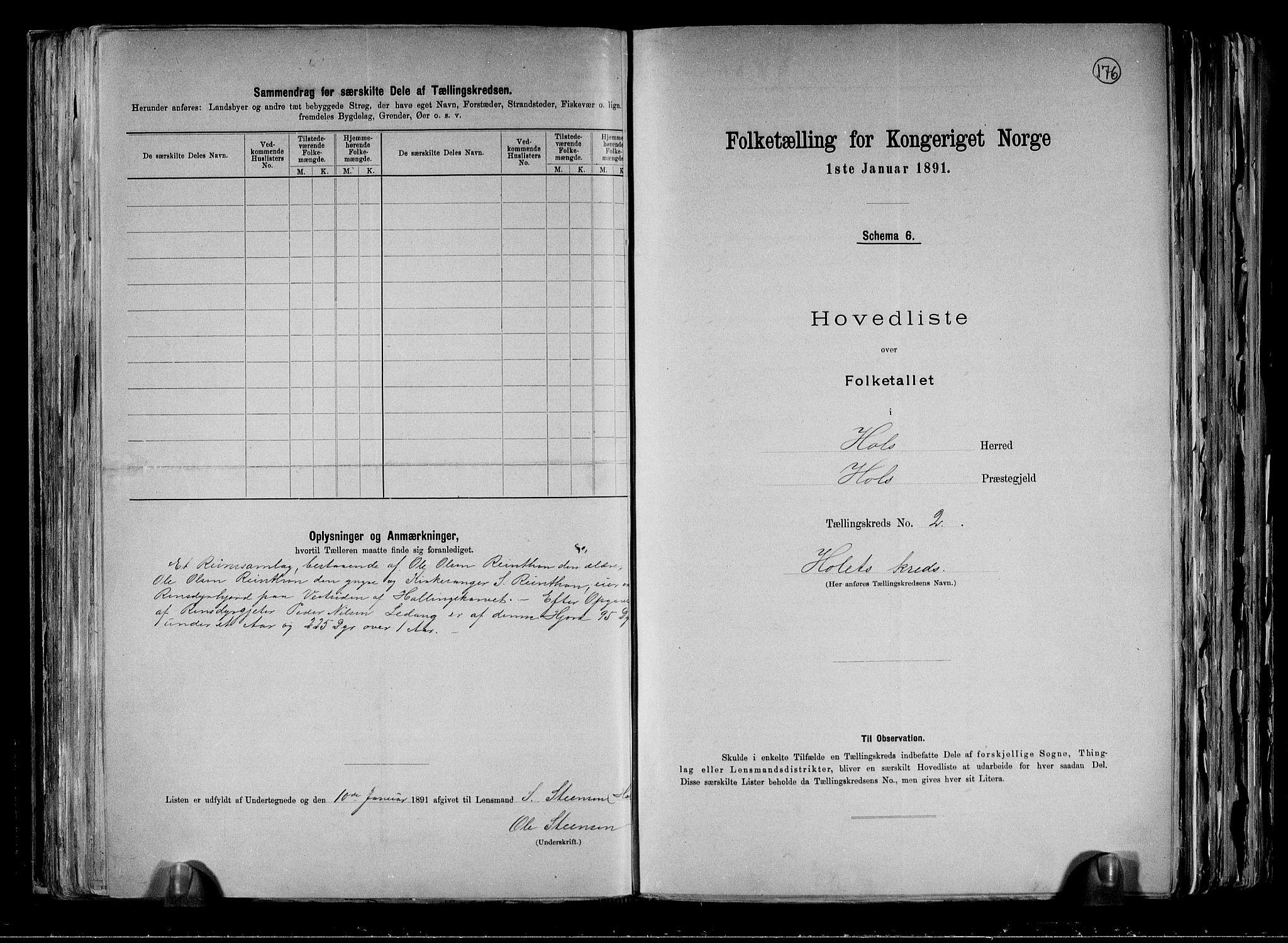 RA, Folketelling 1891 for 0620 Hol herred, 1891, s. 9