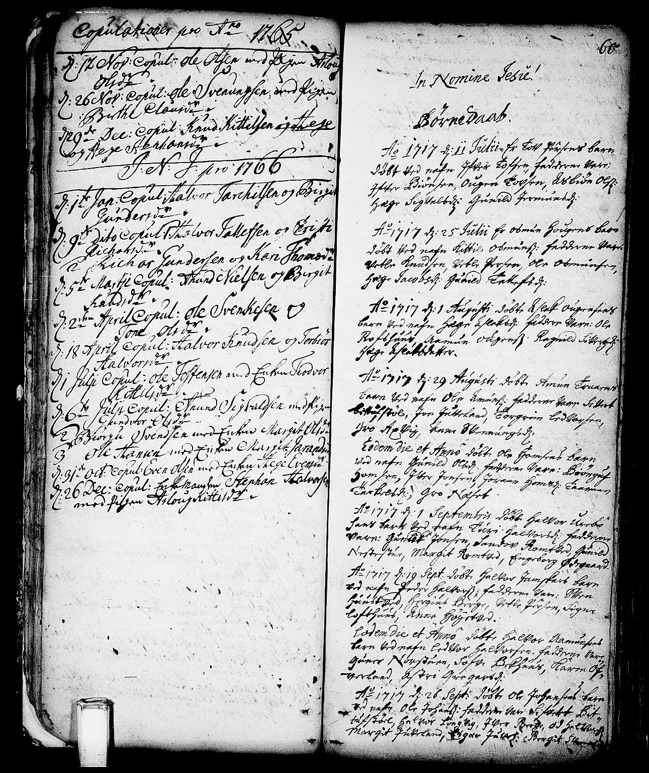 SAKO, Vinje kirkebøker, F/Fa/L0001: Ministerialbok nr. I 1, 1717-1766, s. 60