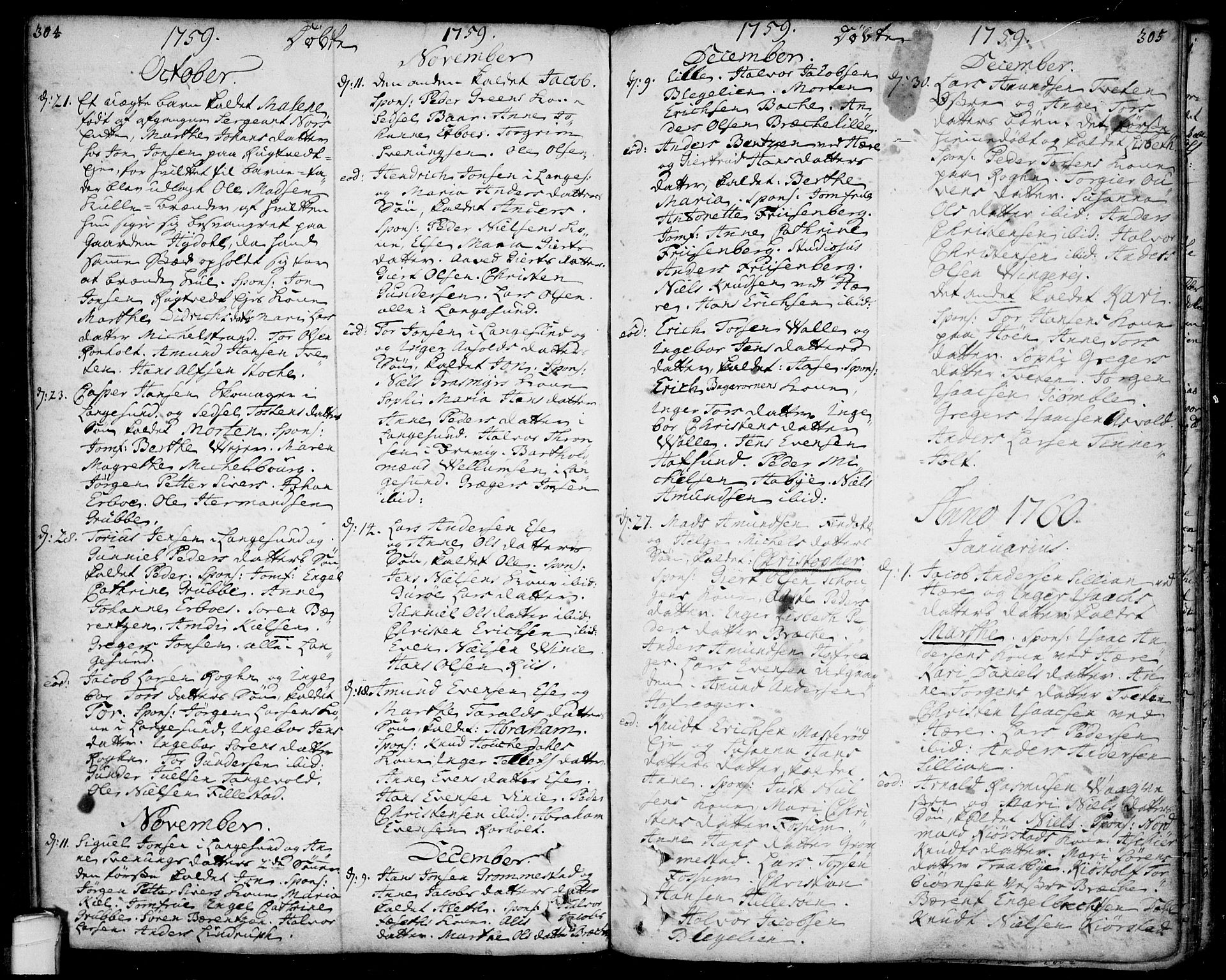 SAKO, Bamble kirkebøker, F/Fa/L0001: Ministerialbok nr. I 1, 1702-1774, s. 304-305