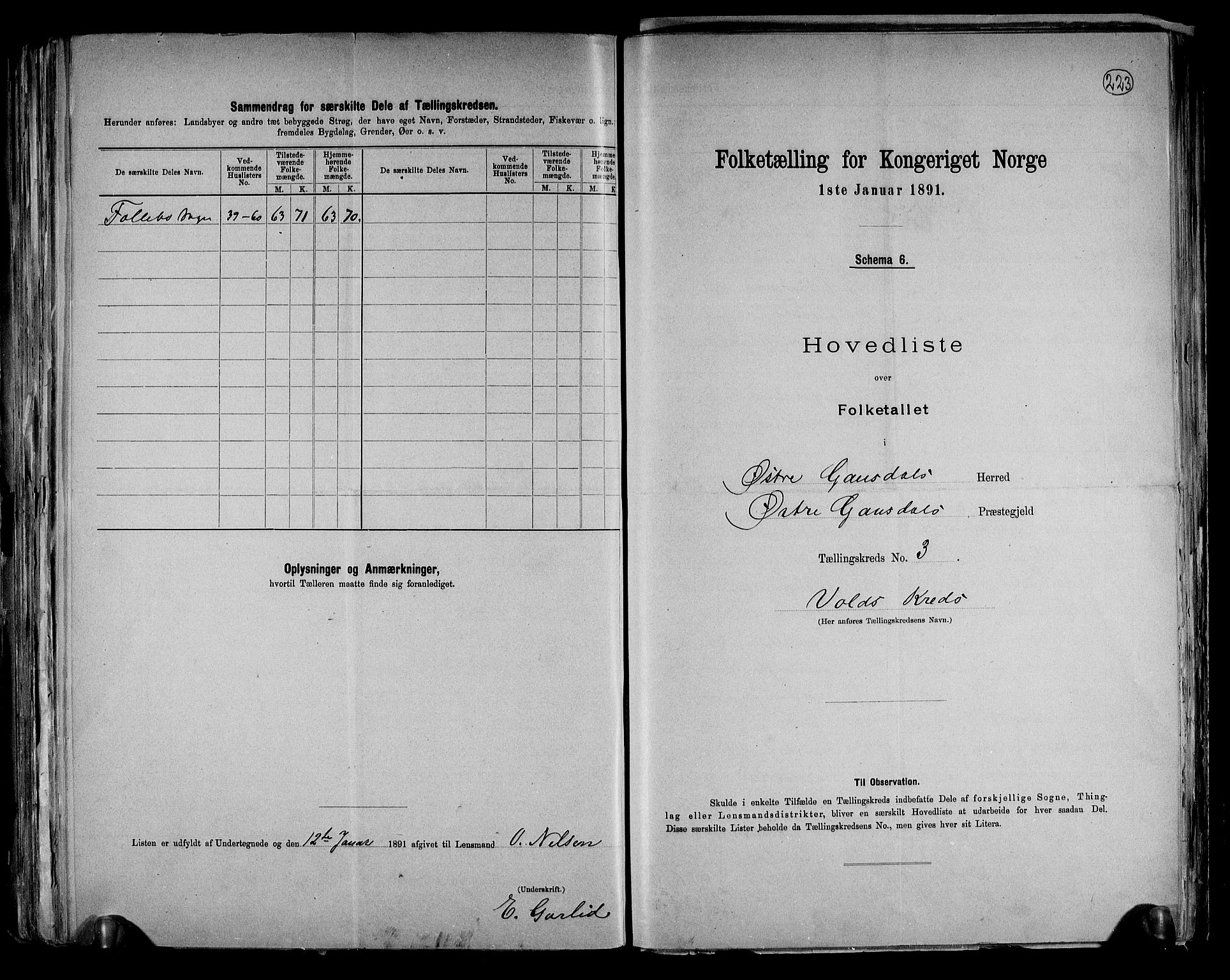 RA, Folketelling 1891 for 0522 Østre Gausdal herred, 1891, s. 14