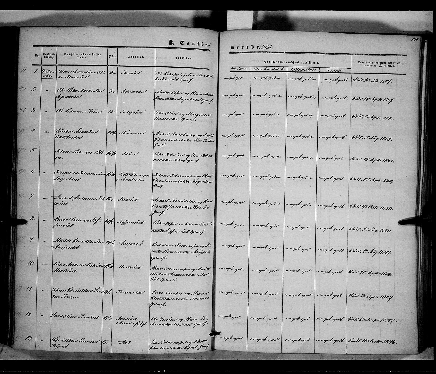 SAH, Vestre Toten prestekontor, Ministerialbok nr. 6, 1856-1861, s. 190