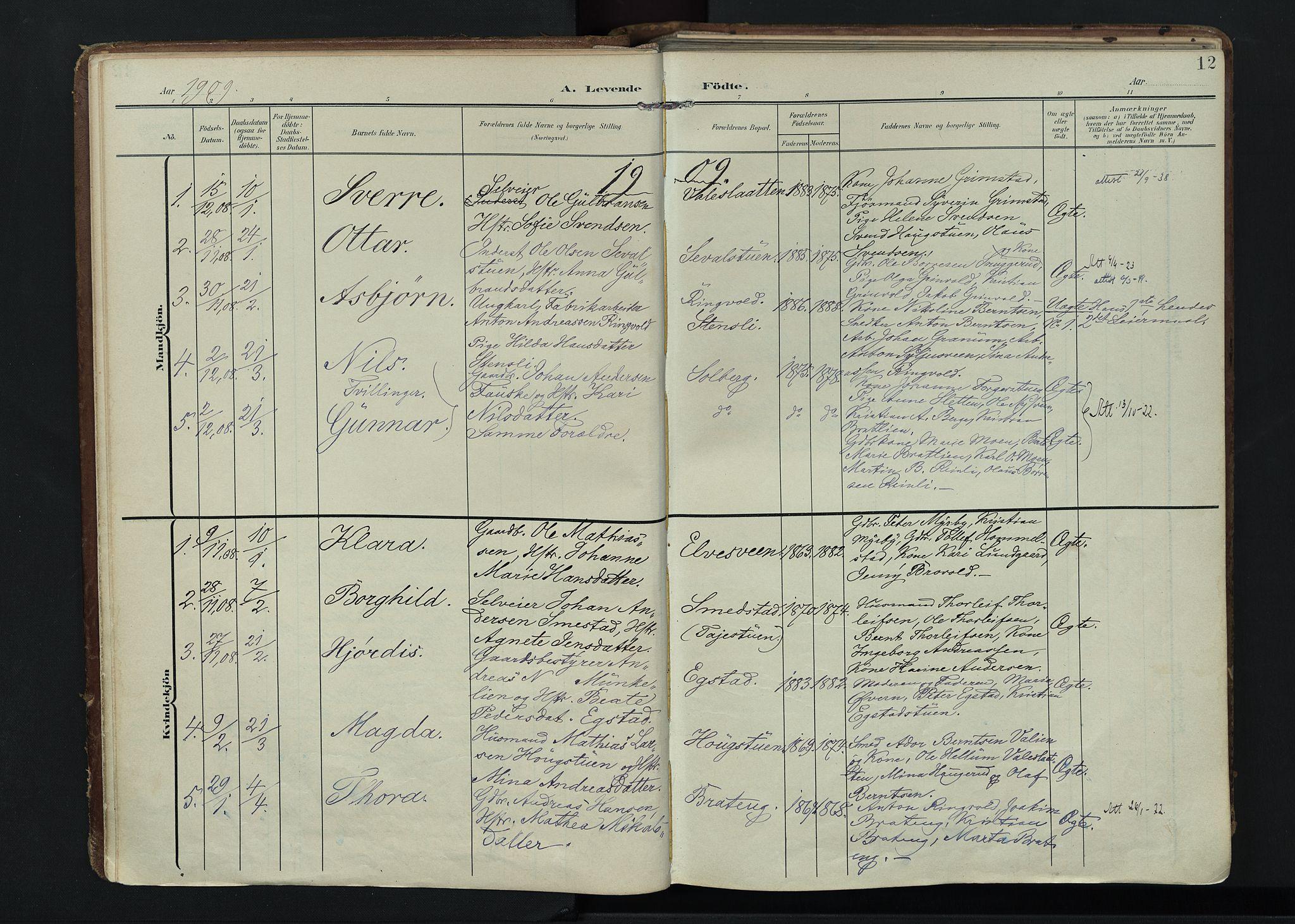 SAH, Vardal prestekontor, H/Ha/Haa/L0020: Ministerialbok nr. 20, 1907-1921, s. 12