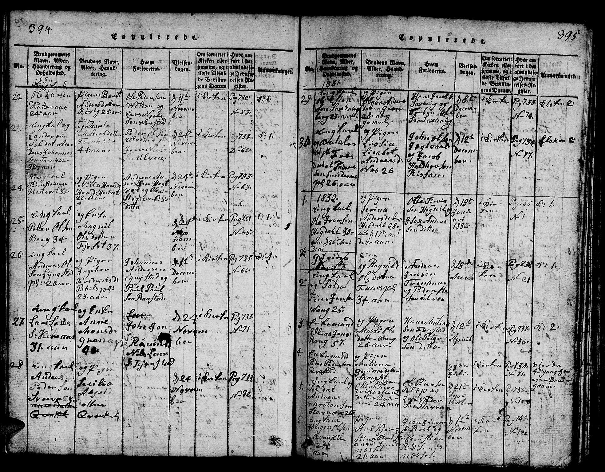 SAT, Ministerialprotokoller, klokkerbøker og fødselsregistre - Nord-Trøndelag, 730/L0298: Klokkerbok nr. 730C01, 1816-1849, s. 394-395