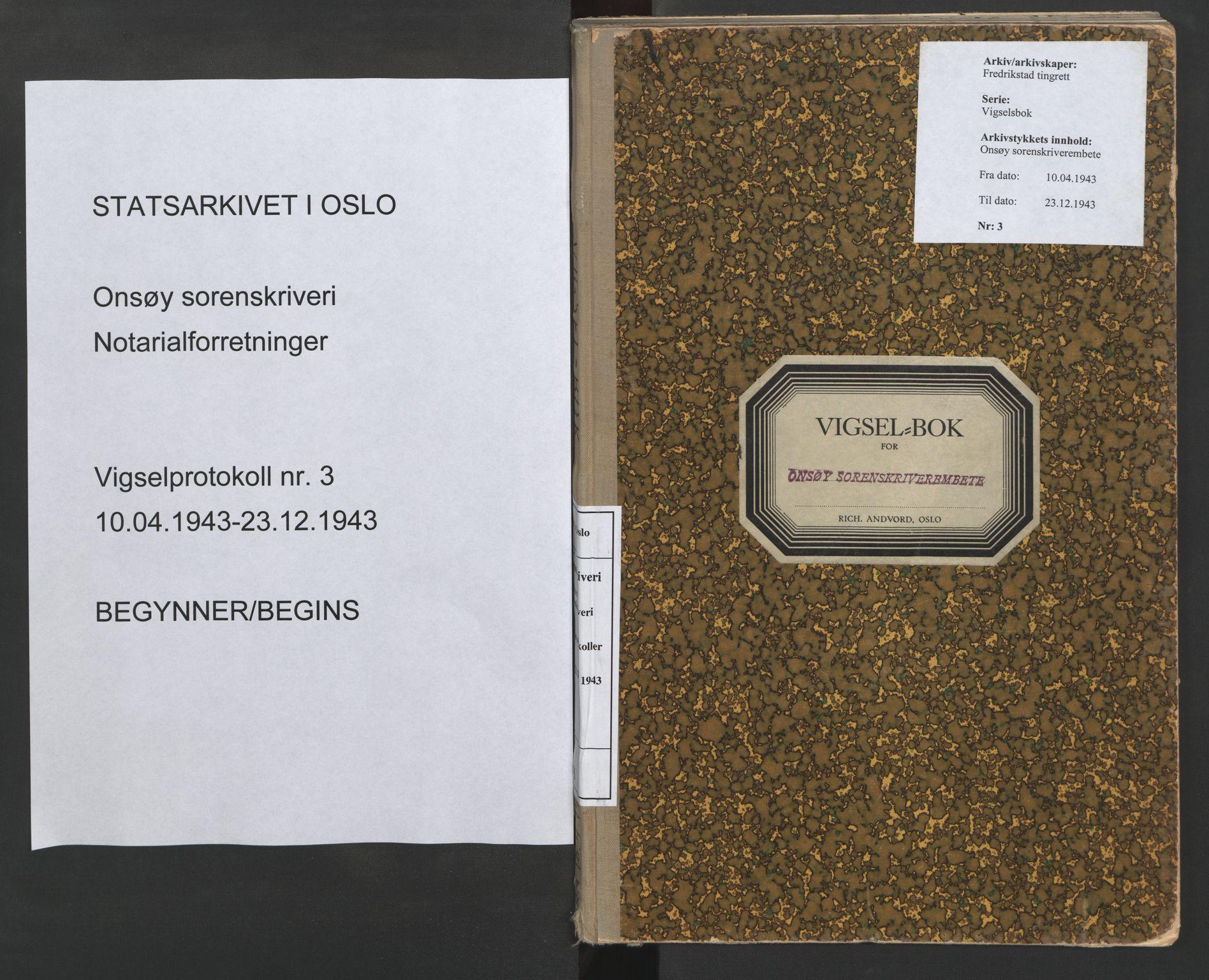 SAO, Onsøy sorenskriveri, L/La/L0003: Vigselsbok, 1943, s. upaginert