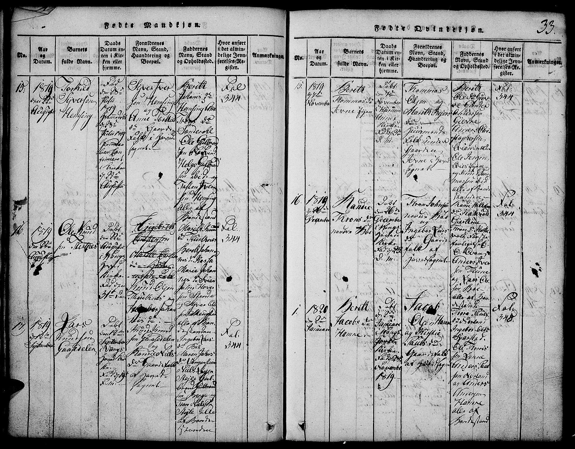 SAH, Vang prestekontor, Valdres, Klokkerbok nr. 2, 1814-1889, s. 33