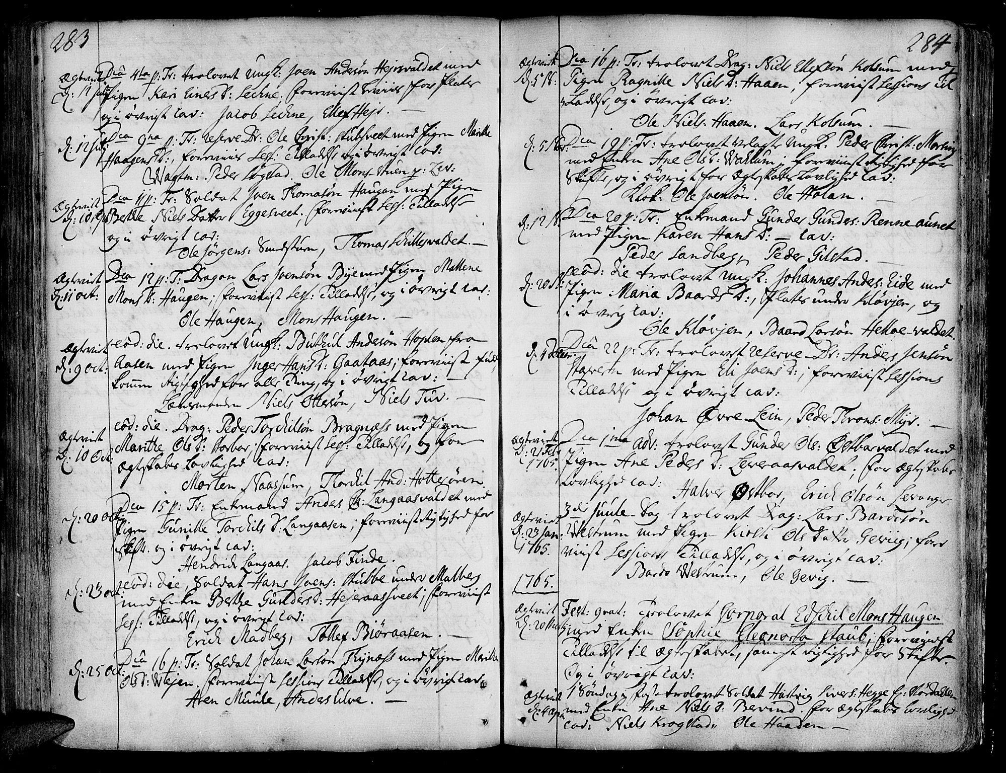 SAT, Ministerialprotokoller, klokkerbøker og fødselsregistre - Nord-Trøndelag, 717/L0141: Ministerialbok nr. 717A01, 1747-1803, s. 283-284