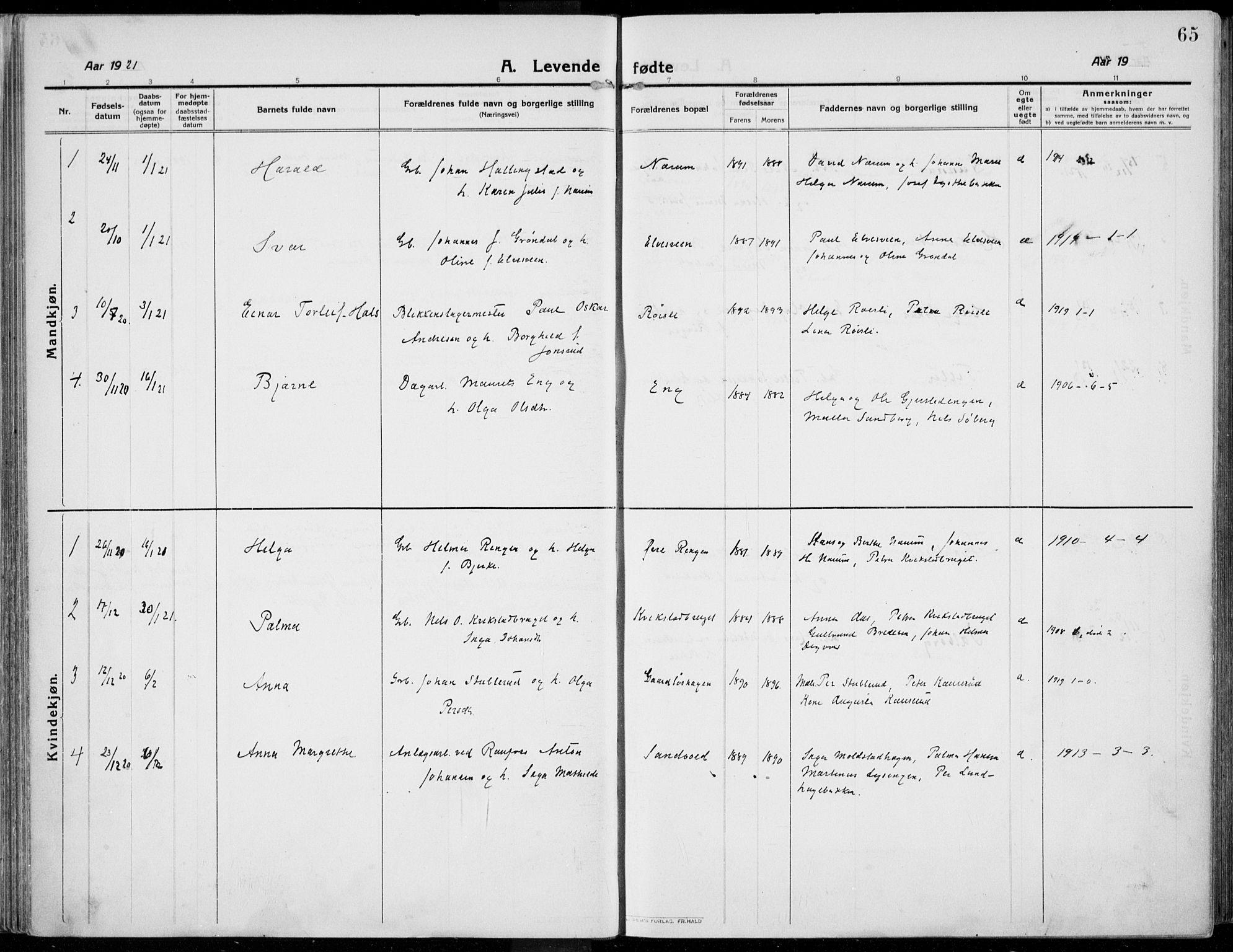 SAH, Kolbu prestekontor, Ministerialbok nr. 2, 1912-1926, s. 65