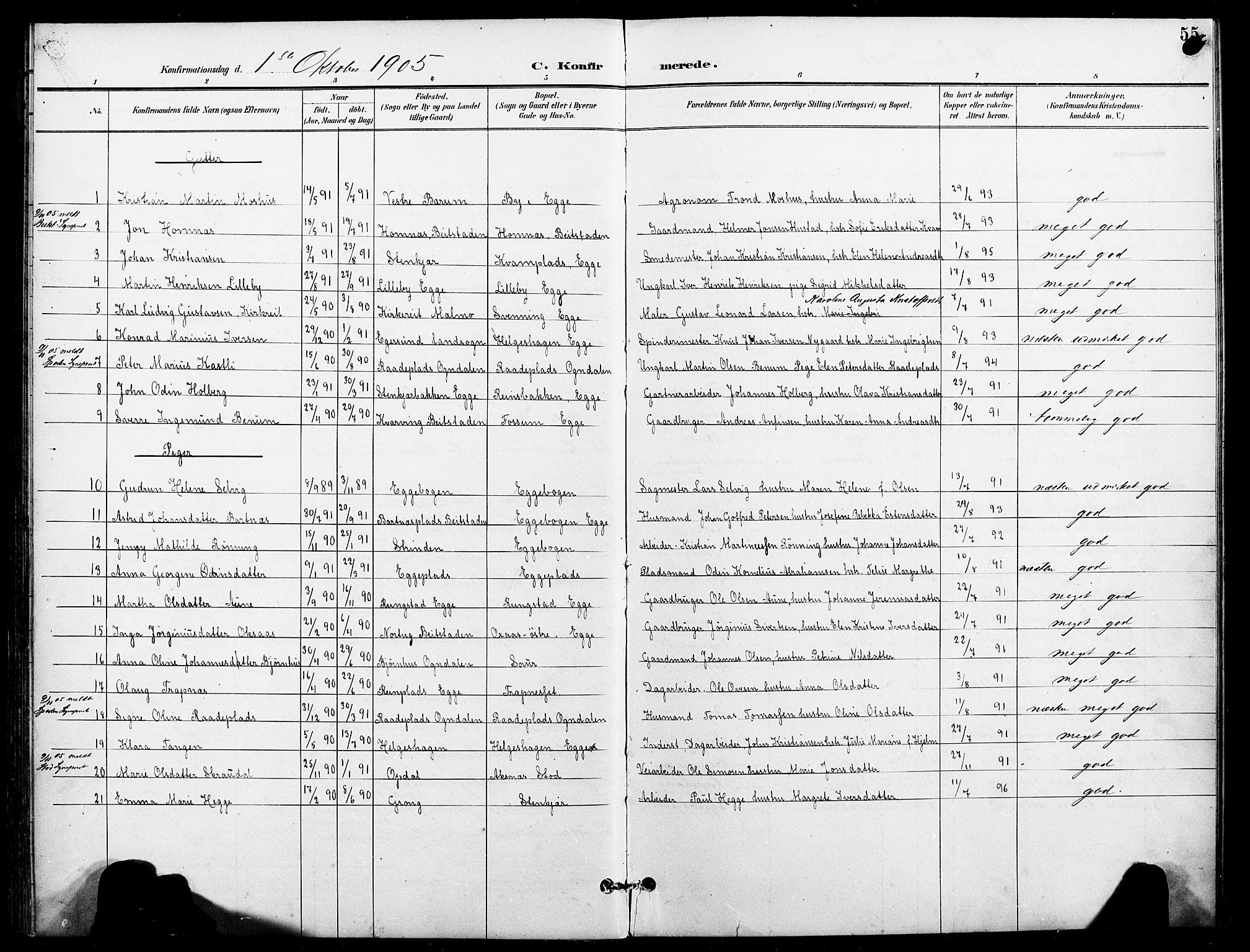 SAT, Ministerialprotokoller, klokkerbøker og fødselsregistre - Nord-Trøndelag, 740/L0379: Ministerialbok nr. 740A02, 1895-1907, s. 55