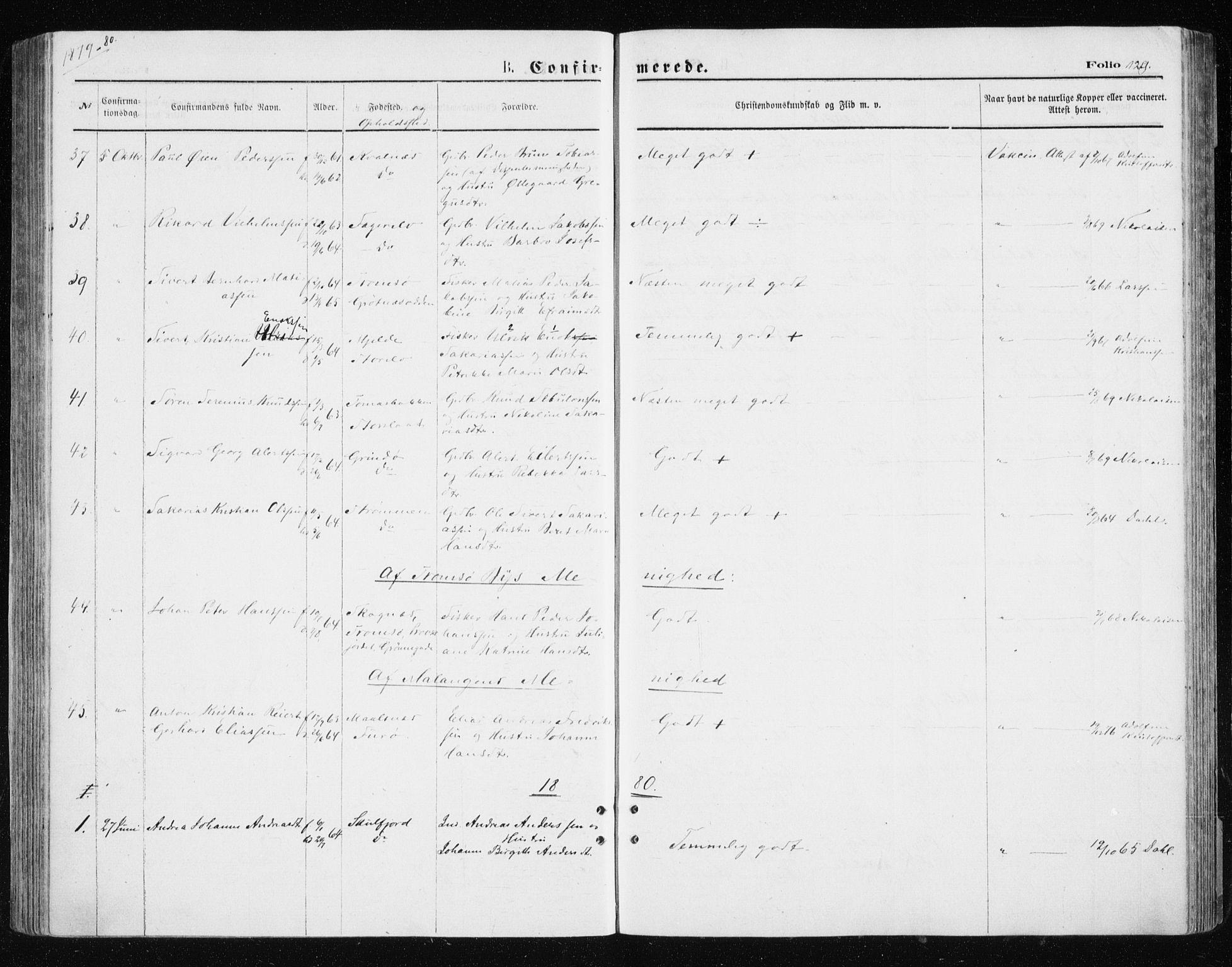 SATØ, Tromsøysund sokneprestkontor, G/Ga/L0003kirke: Ministerialbok nr. 3, 1875-1880, s. 129