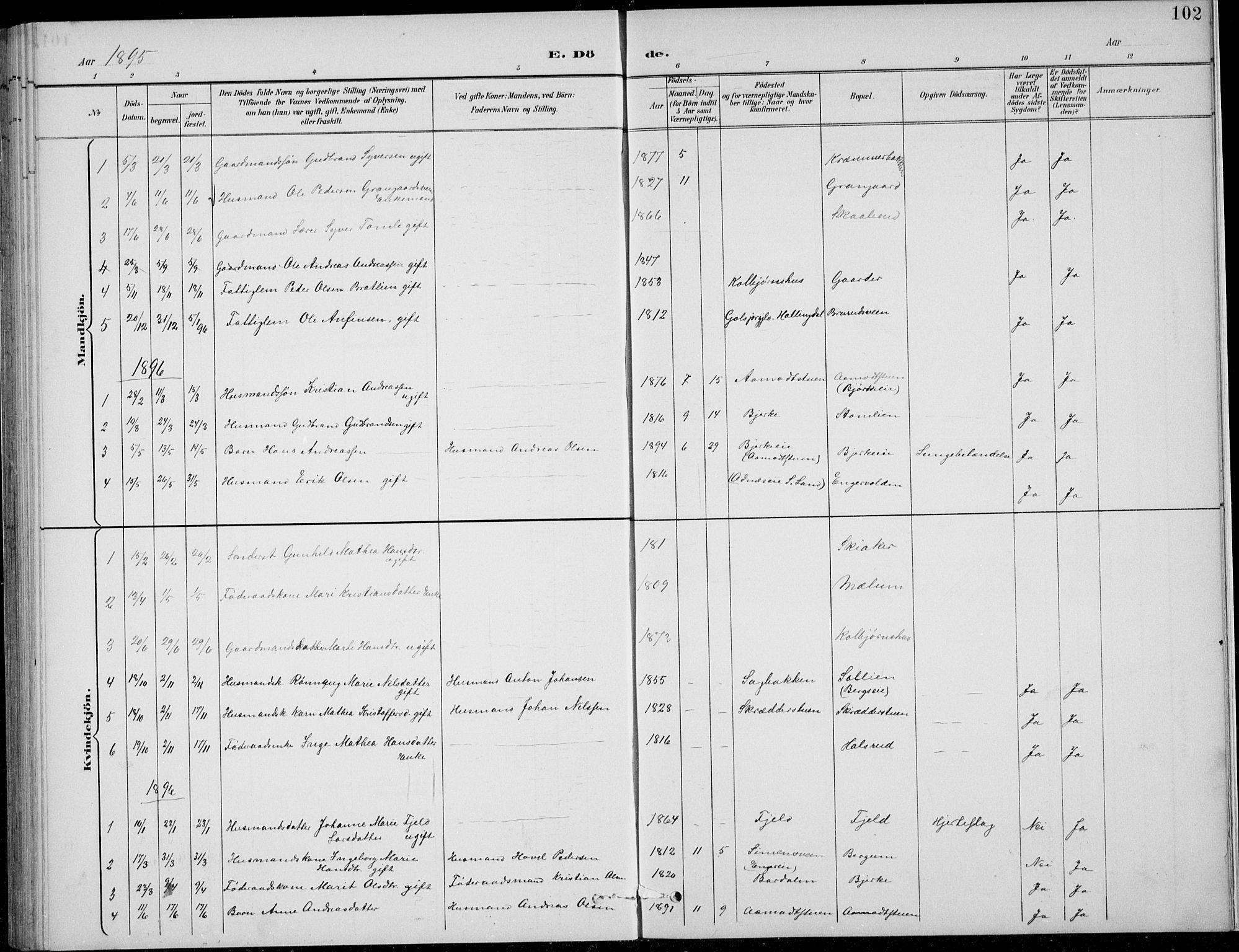 SAH, Nordre Land prestekontor, Klokkerbok nr. 14, 1891-1907, s. 102