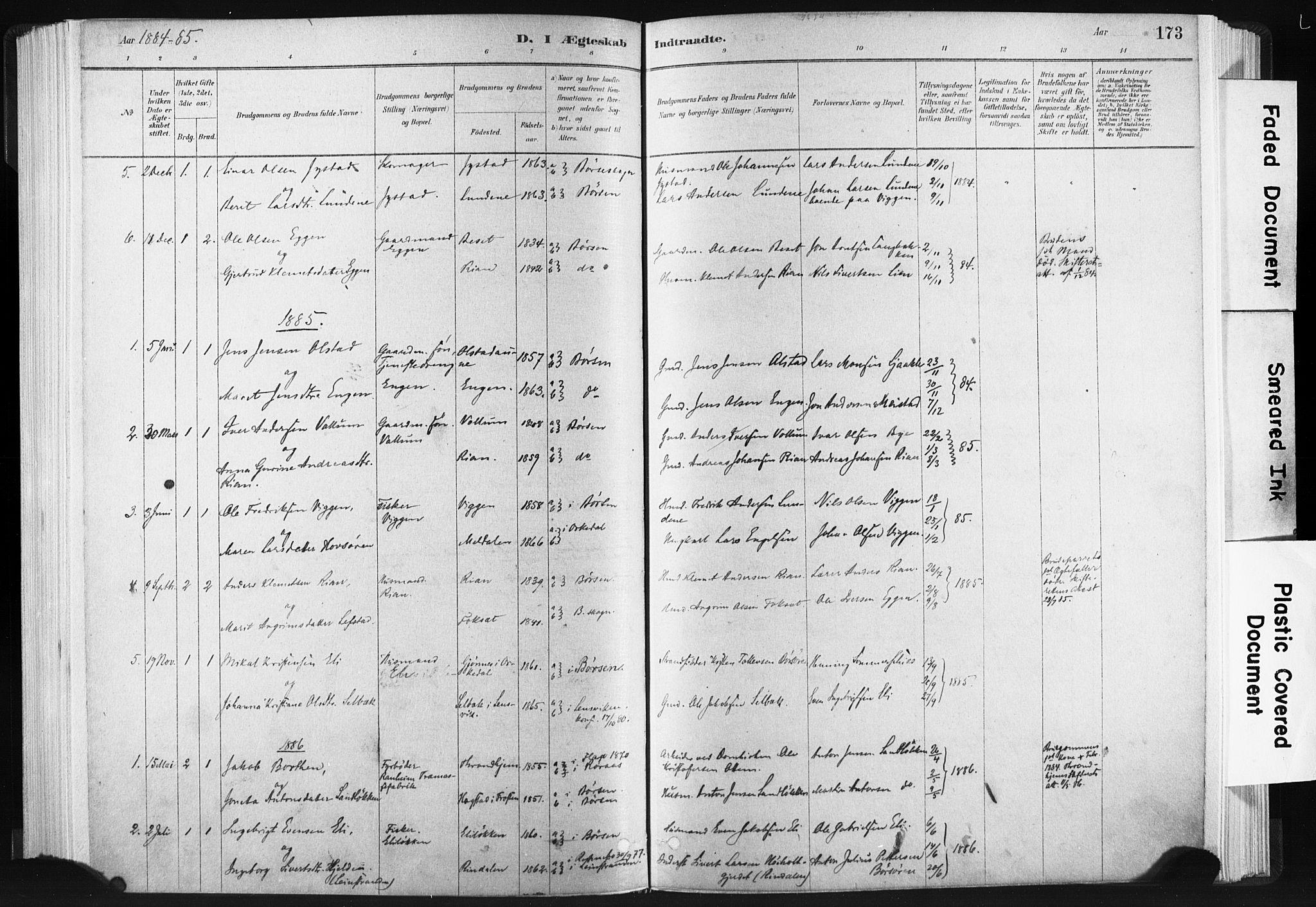SAT, Ministerialprotokoller, klokkerbøker og fødselsregistre - Sør-Trøndelag, 665/L0773: Ministerialbok nr. 665A08, 1879-1905, s. 173