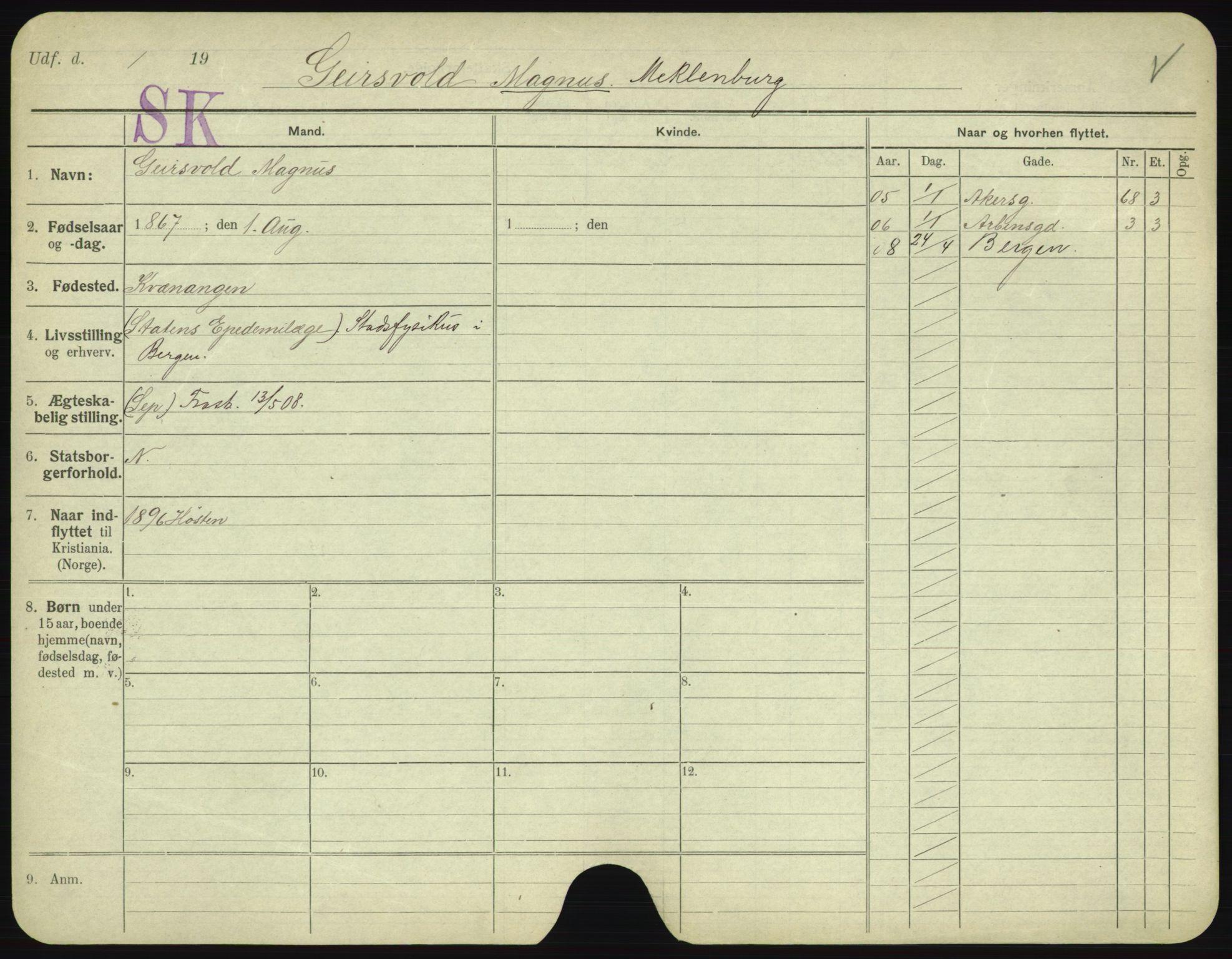 SAO, Oslo folkeregister, Registerkort, F/Fa/Fac/L0003: Menn, 1906-1914, s. 426a