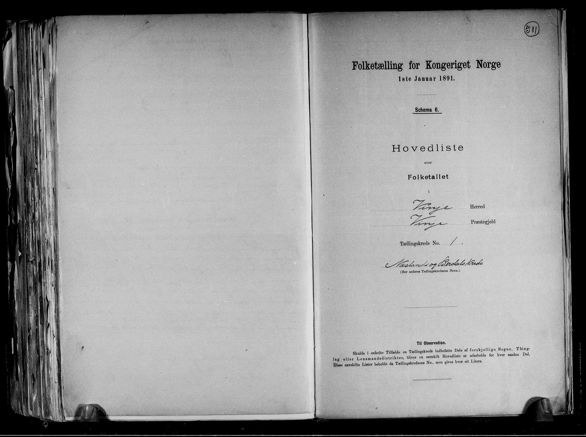 RA, Folketelling 1891 for 0834 Vinje herred, 1891, s. 4