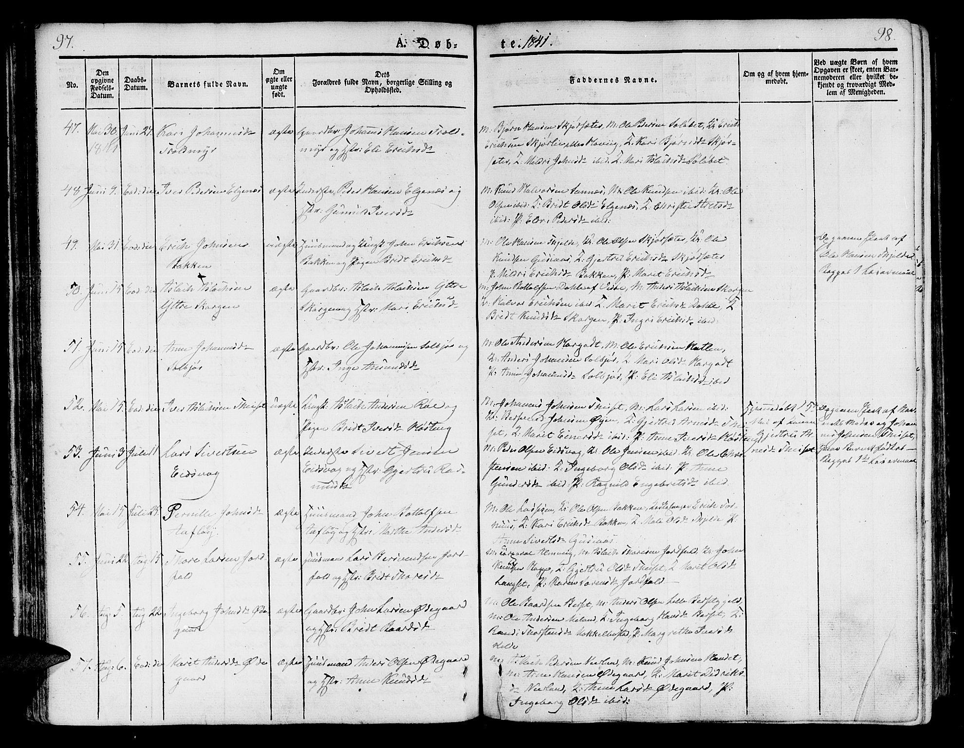 SAT, Ministerialprotokoller, klokkerbøker og fødselsregistre - Møre og Romsdal, 551/L0624: Ministerialbok nr. 551A04, 1831-1845, s. 97-98