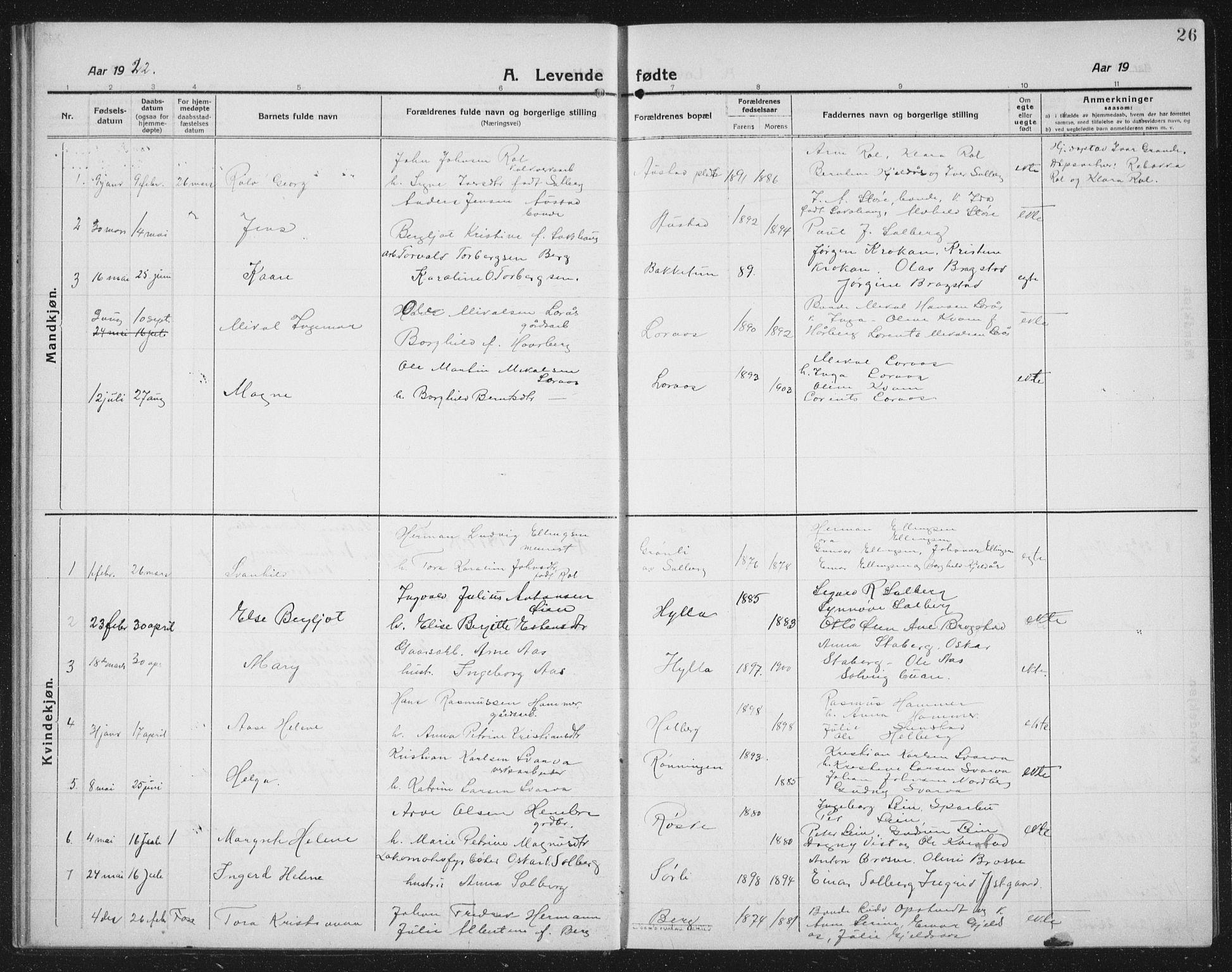 SAT, Ministerialprotokoller, klokkerbøker og fødselsregistre - Nord-Trøndelag, 731/L0312: Klokkerbok nr. 731C03, 1911-1935, s. 26