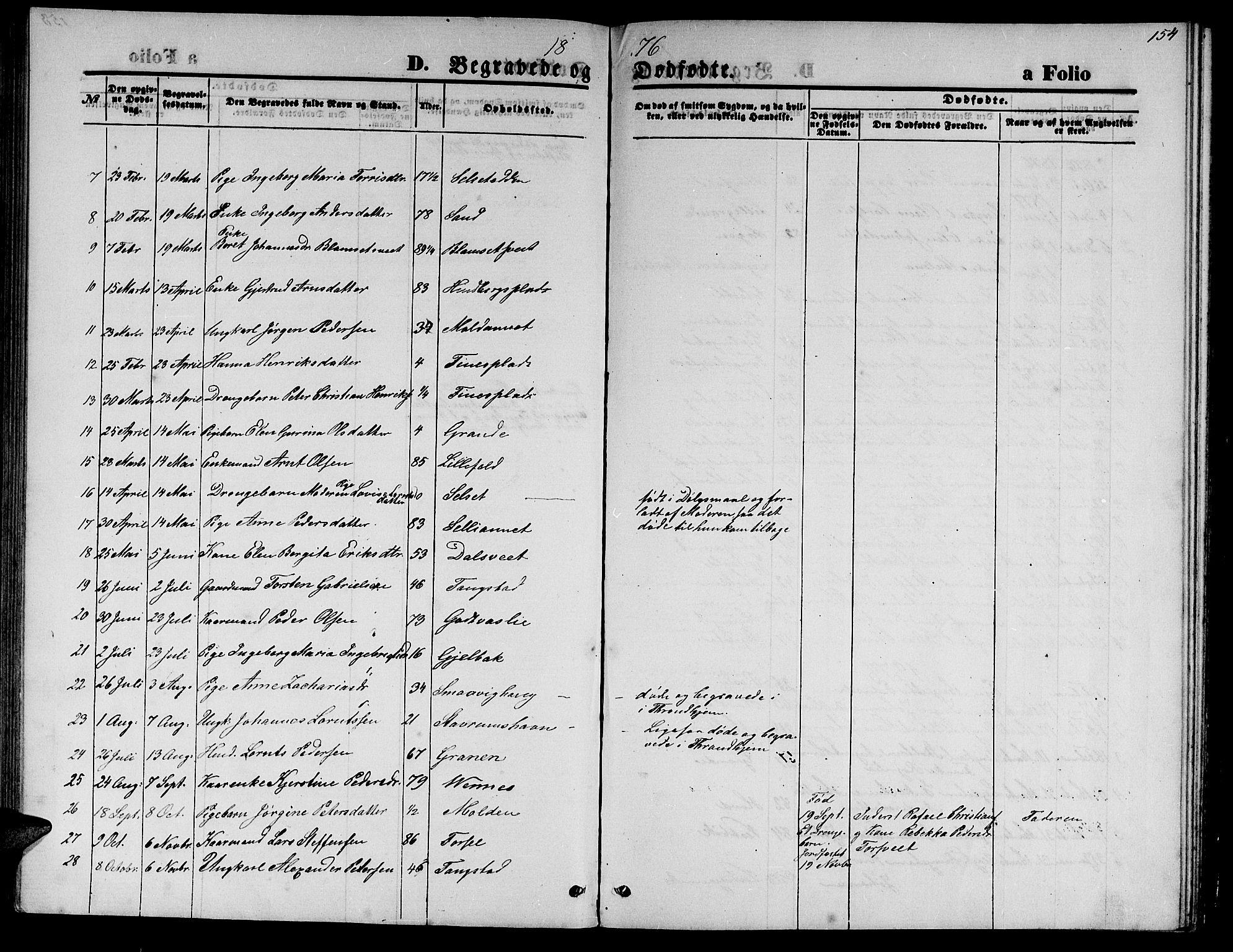 SAT, Ministerialprotokoller, klokkerbøker og fødselsregistre - Nord-Trøndelag, 744/L0422: Klokkerbok nr. 744C01, 1871-1885, s. 154