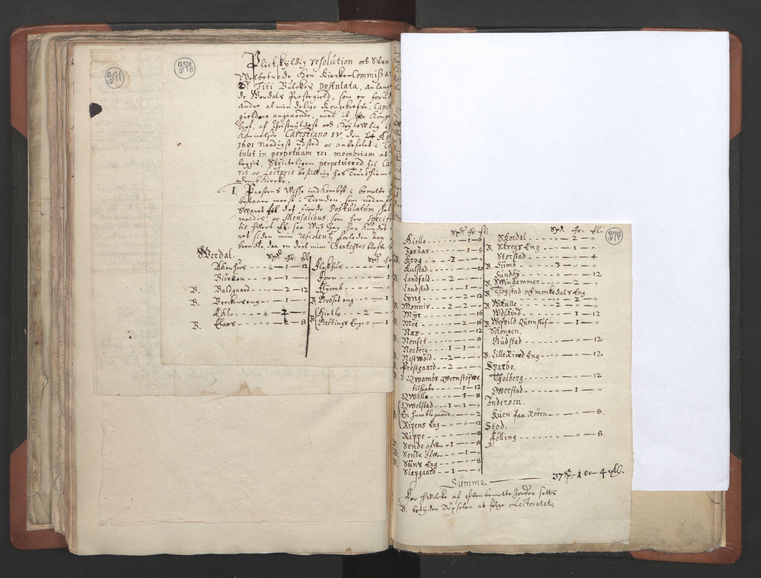RA, Sogneprestenes manntall 1664-1666, nr. 32: Innherad prosti, 1664-1666, s. 373-374