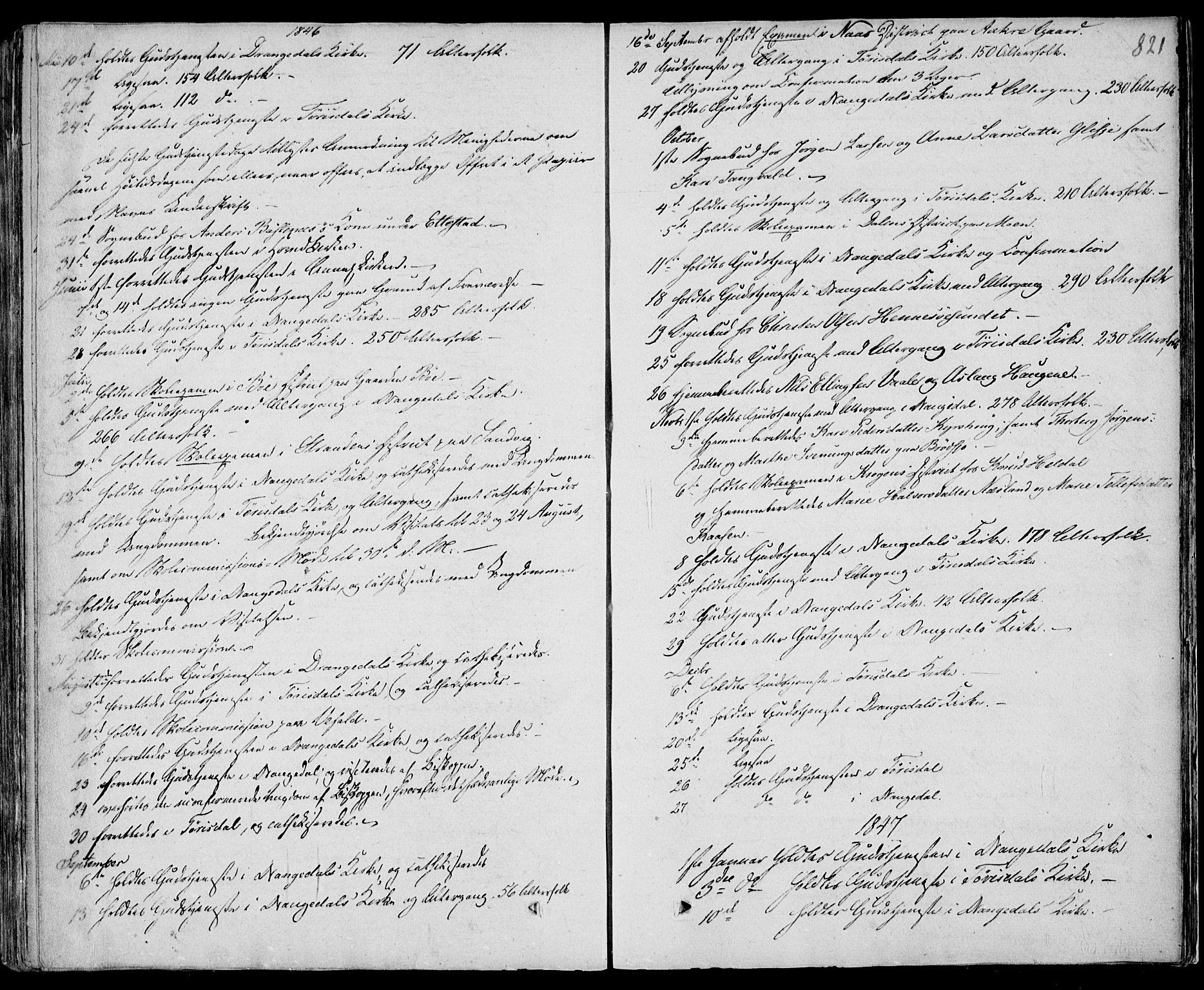 SAKO, Drangedal kirkebøker, F/Fa/L0007b: Ministerialbok nr. 7b, 1837-1856, s. 821