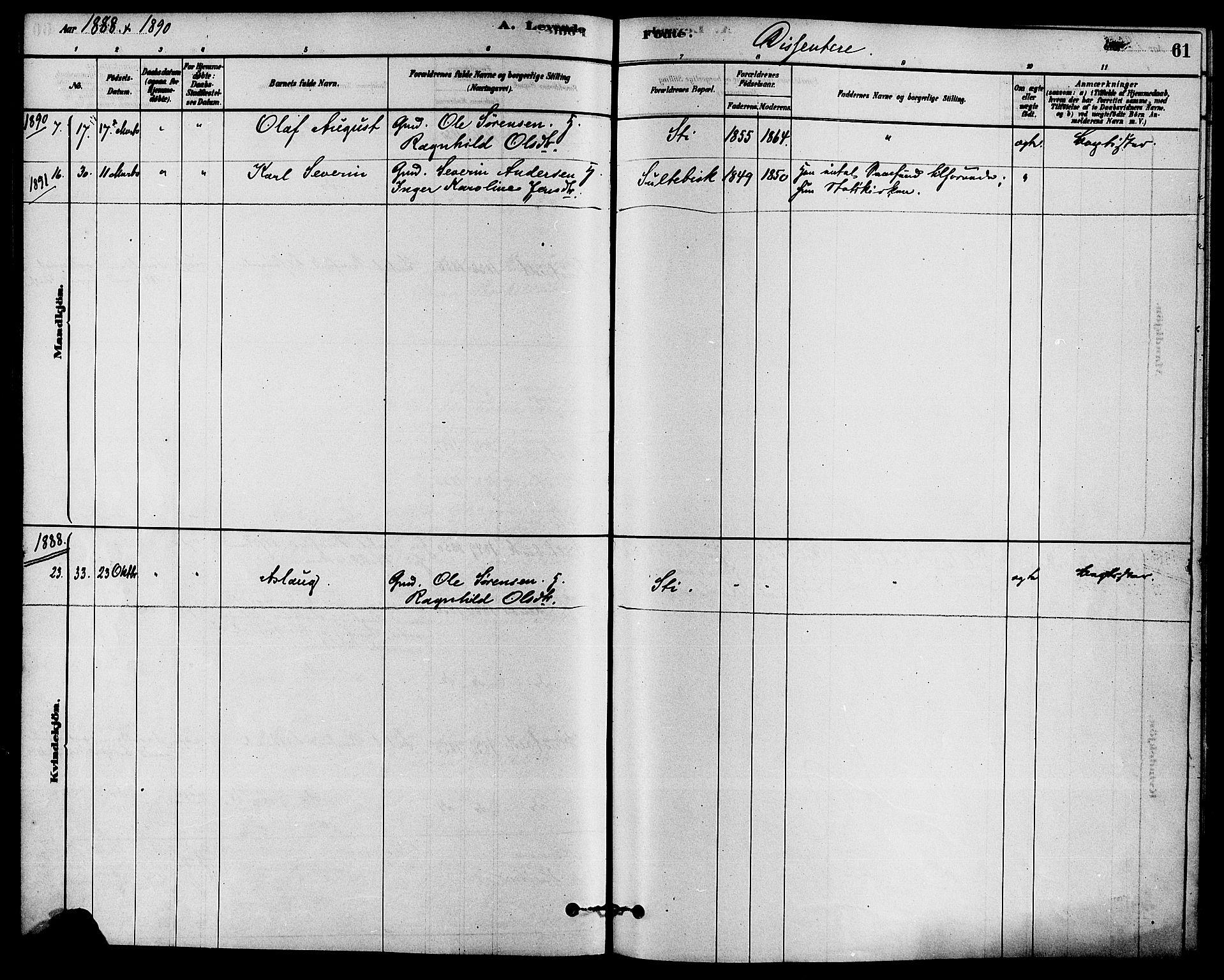 SAKO, Solum kirkebøker, F/Fb/L0001: Ministerialbok nr. II 1, 1877-1892, s. 61