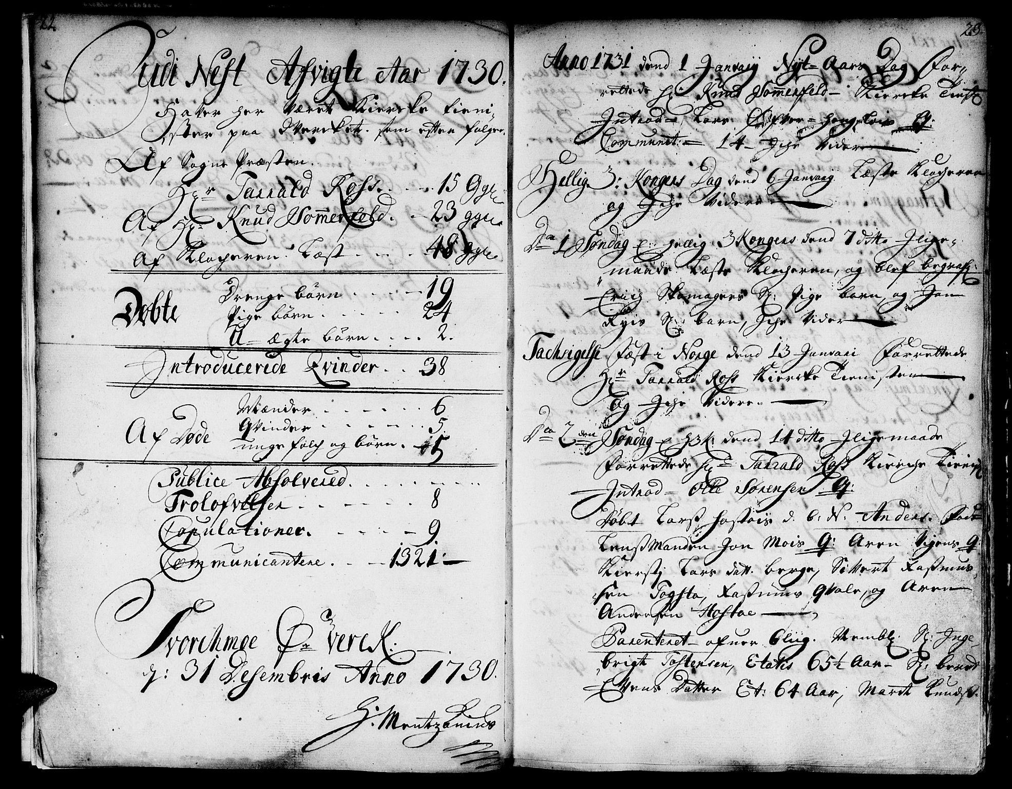 SAT, Ministerialprotokoller, klokkerbøker og fødselsregistre - Sør-Trøndelag, 671/L0839: Ministerialbok nr. 671A01, 1730-1755, s. 22-23
