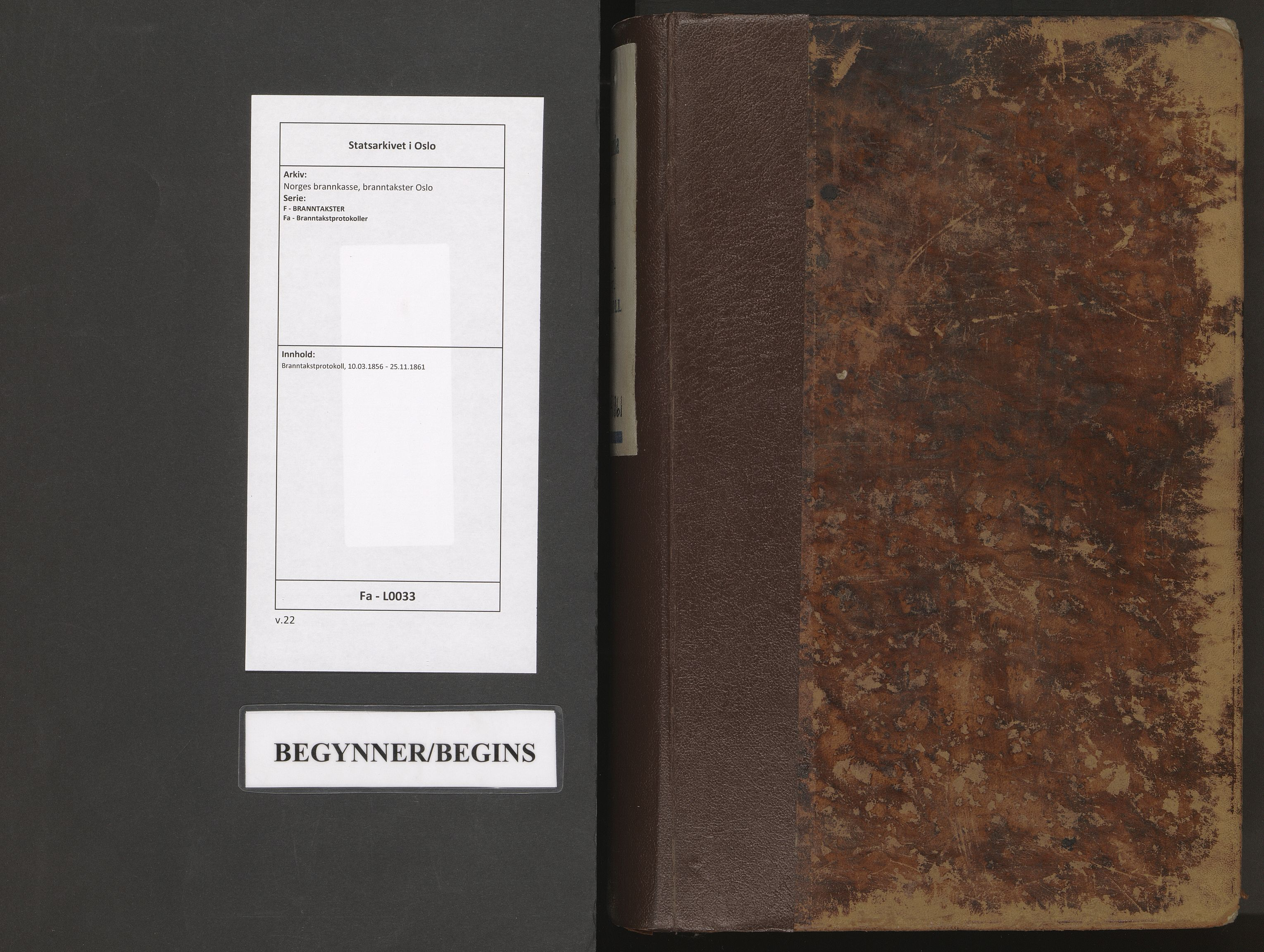 SAO, Norges brannkasse, branntakster Oslo, F/Fa/L0033: Branntakstprotokoll, 1856-1861