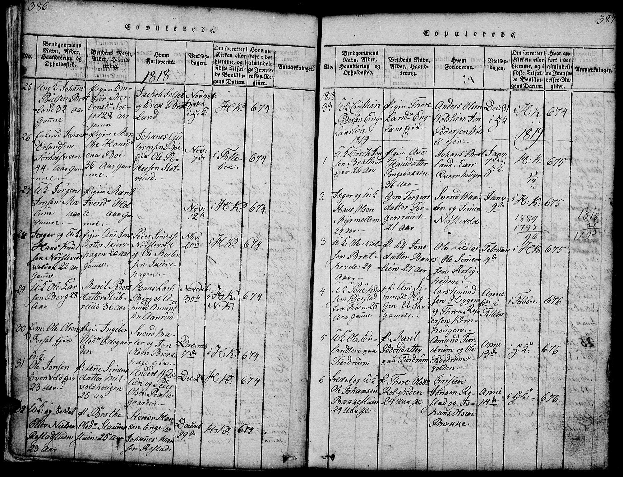 SAH, Gausdal prestekontor, Klokkerbok nr. 1, 1817-1848, s. 386-387