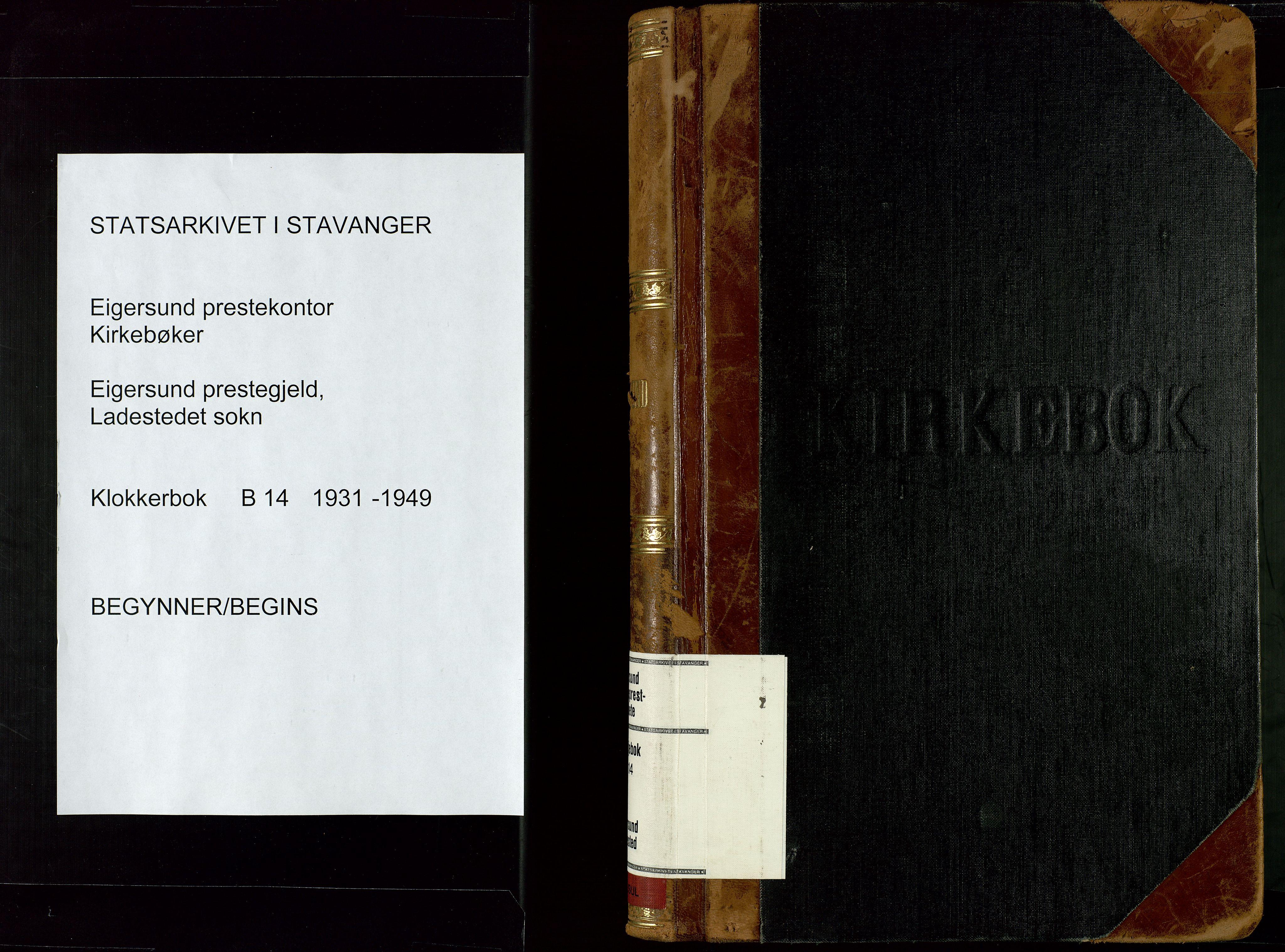 SAST, Egersund sokneprestkontor, Klokkerbok nr. B 14, 1931-1949
