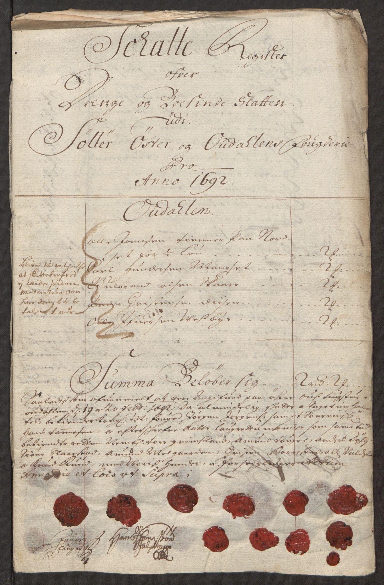 RA, Rentekammeret inntil 1814, Reviderte regnskaper, Fogderegnskap, R13/L0830: Fogderegnskap Solør, Odal og Østerdal, 1692, s. 235