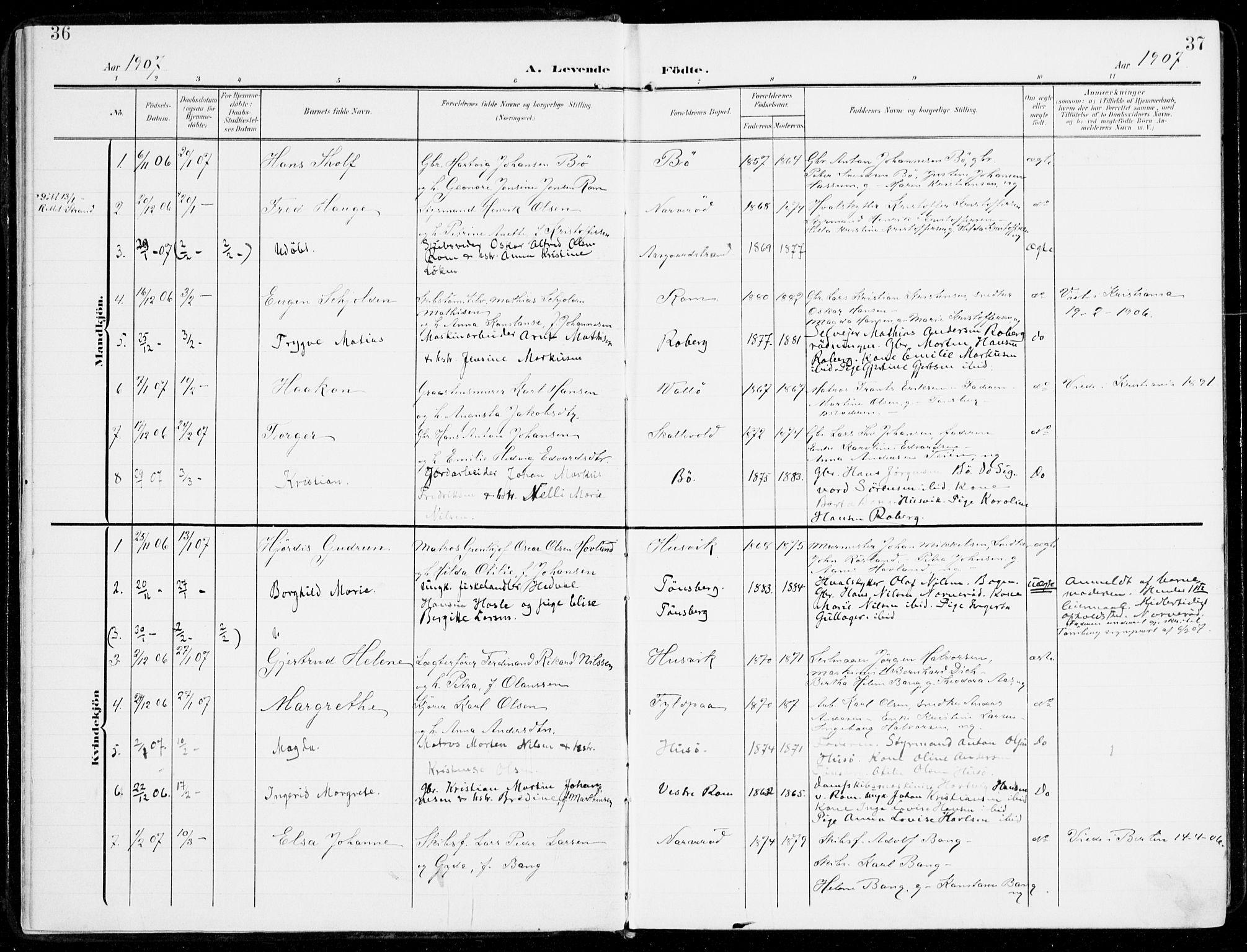 SAKO, Sem kirkebøker, F/Fb/L0006: Ministerialbok nr. II 6, 1905-1918, s. 36-37