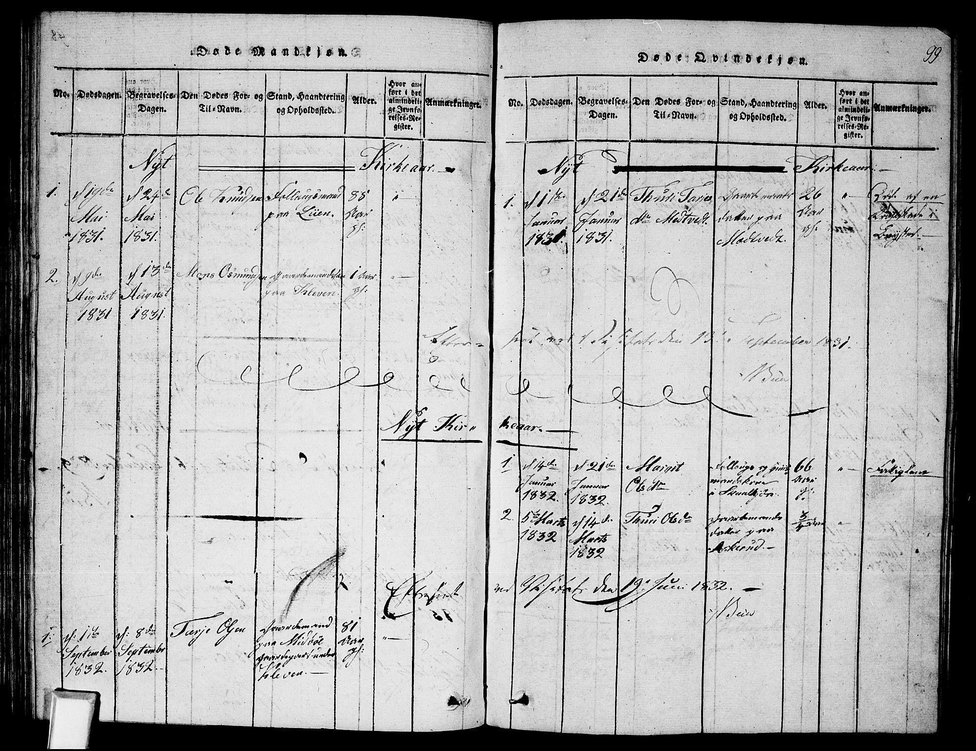 SAKO, Fyresdal kirkebøker, G/Ga/L0002: Klokkerbok nr. I 2, 1815-1857, s. 99