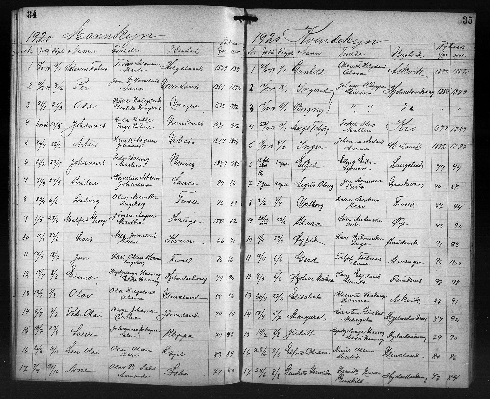 SAST, Hjelmeland sokneprestkontor, V/L0009: Klokkerbok nr. B 9, 1909-1921, s. 34-35