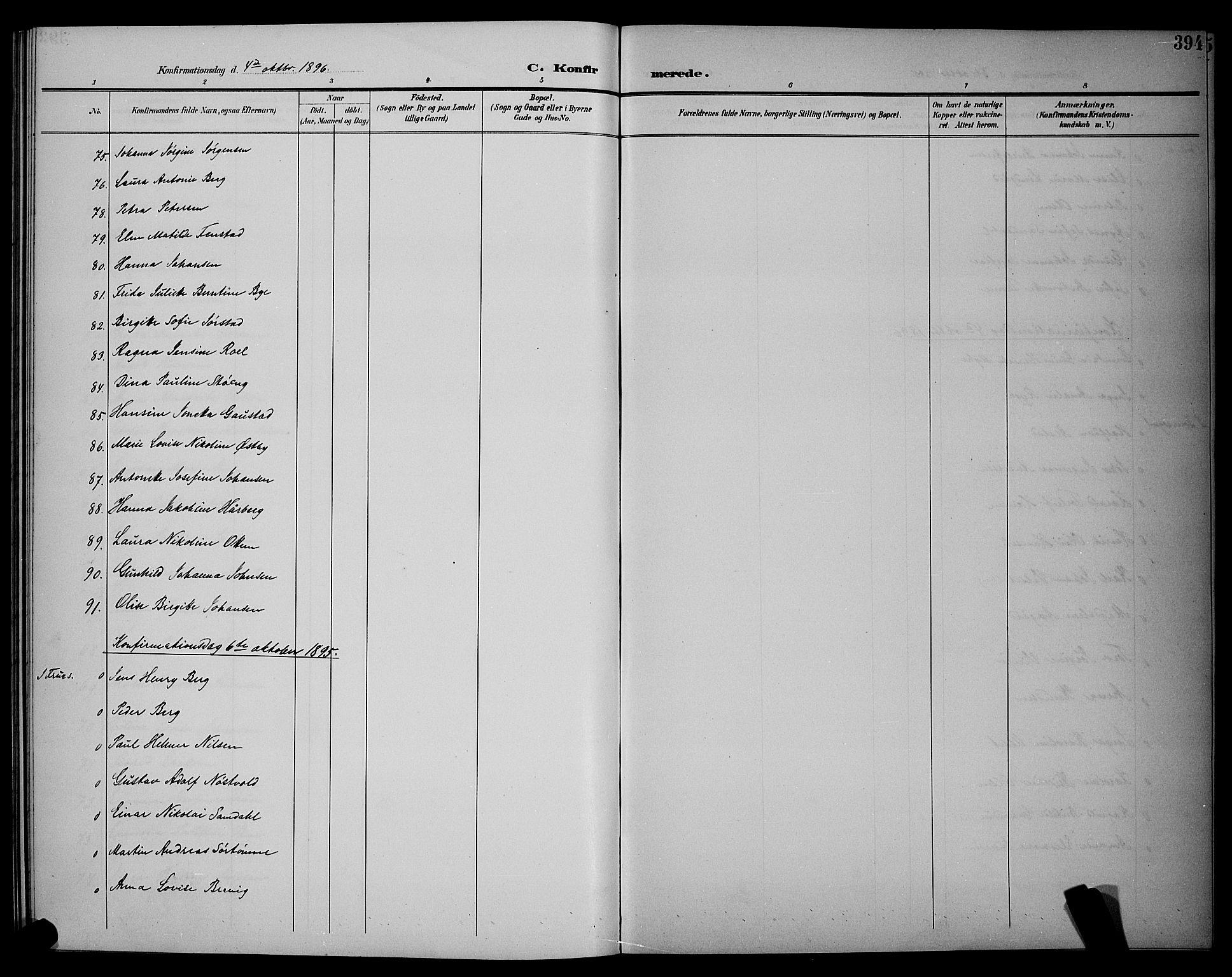 SAT, Ministerialprotokoller, klokkerbøker og fødselsregistre - Sør-Trøndelag, 604/L0225: Klokkerbok nr. 604C08, 1895-1899, s. 394