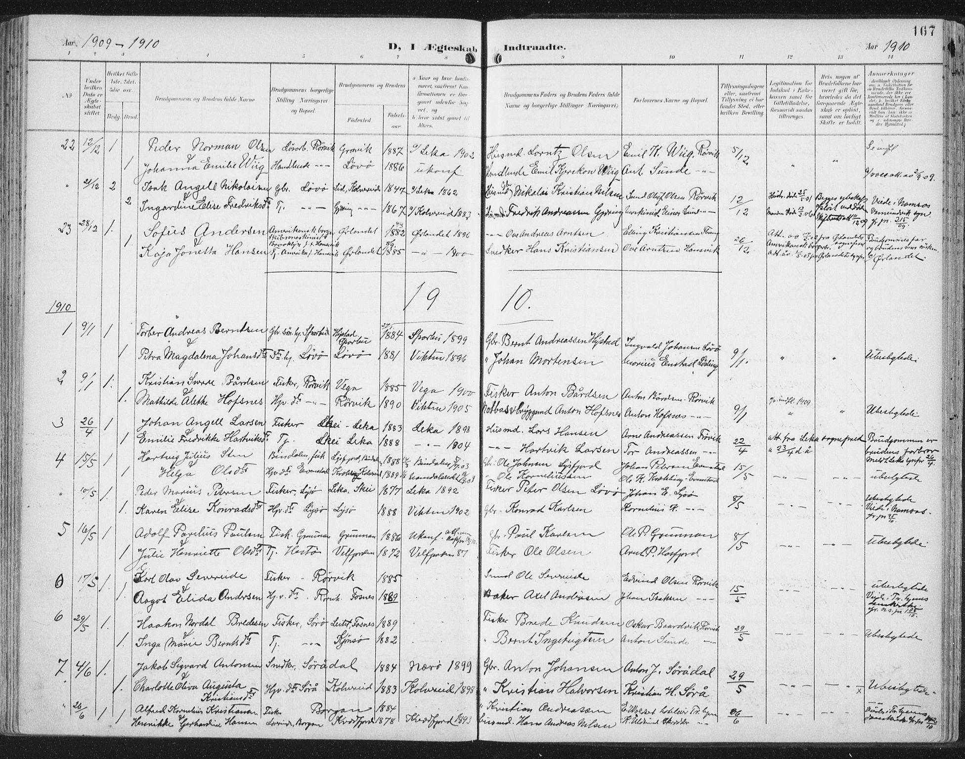 SAT, Ministerialprotokoller, klokkerbøker og fødselsregistre - Nord-Trøndelag, 786/L0688: Ministerialbok nr. 786A04, 1899-1912, s. 167