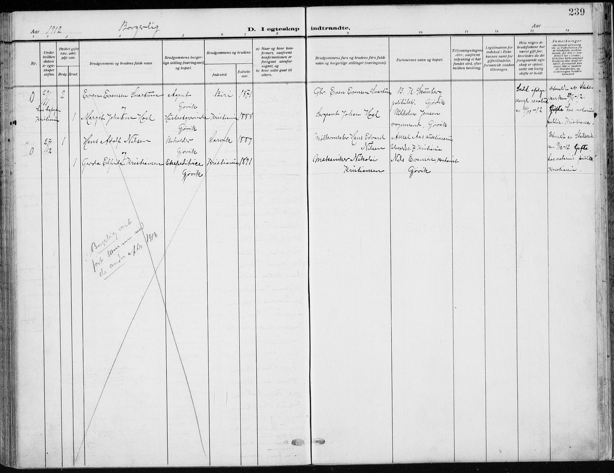 SAH, Vardal prestekontor, H/Ha/Haa/L0014: Ministerialbok nr. 14, 1912-1922, s. 239