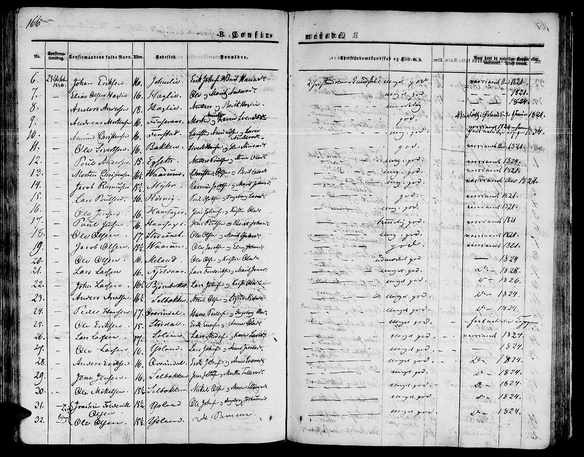 SAT, Ministerialprotokoller, klokkerbøker og fødselsregistre - Sør-Trøndelag, 646/L0609: Ministerialbok nr. 646A07, 1826-1838, s. 166