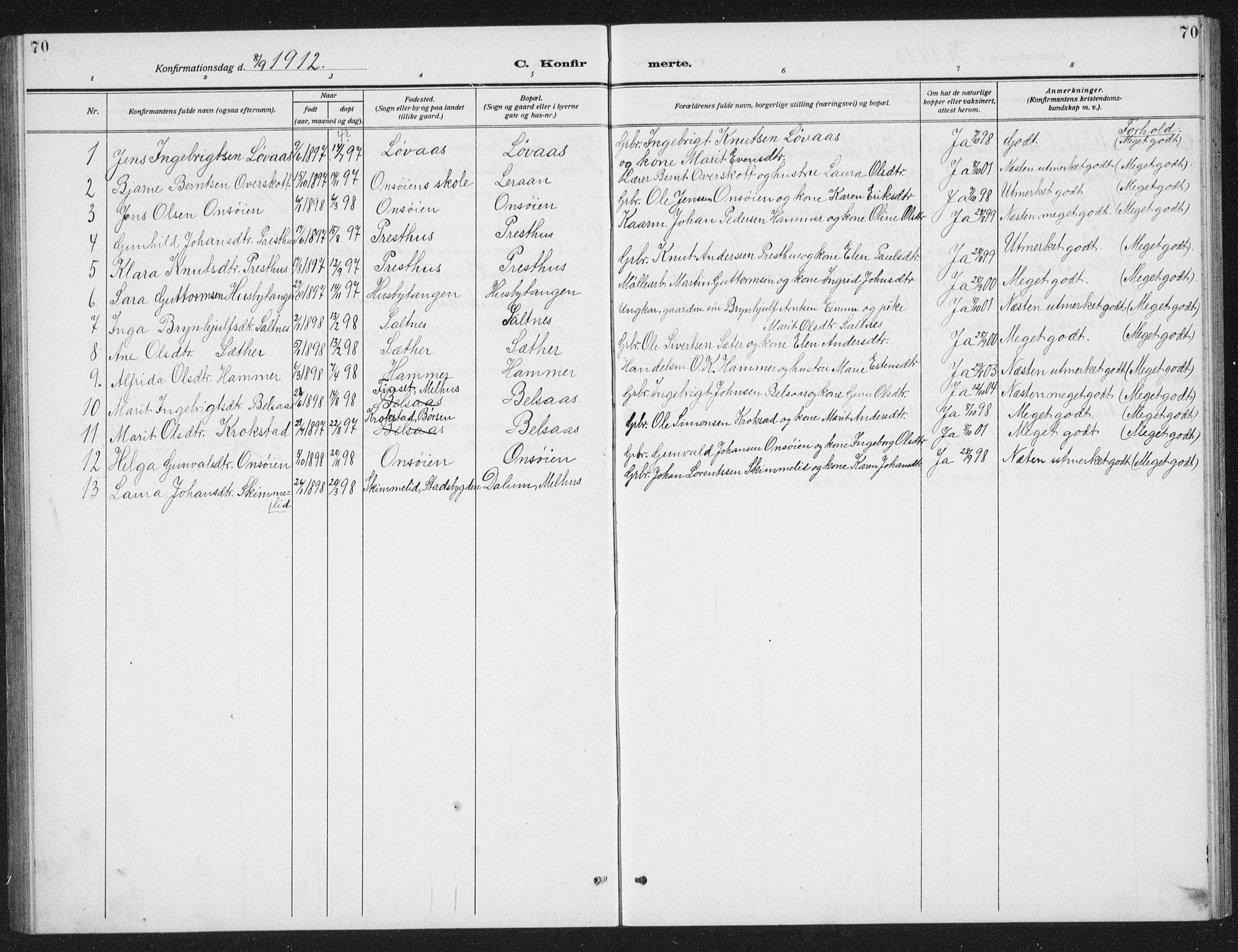 SAT, Ministerialprotokoller, klokkerbøker og fødselsregistre - Sør-Trøndelag, 666/L0791: Klokkerbok nr. 666C04, 1909-1939, s. 70