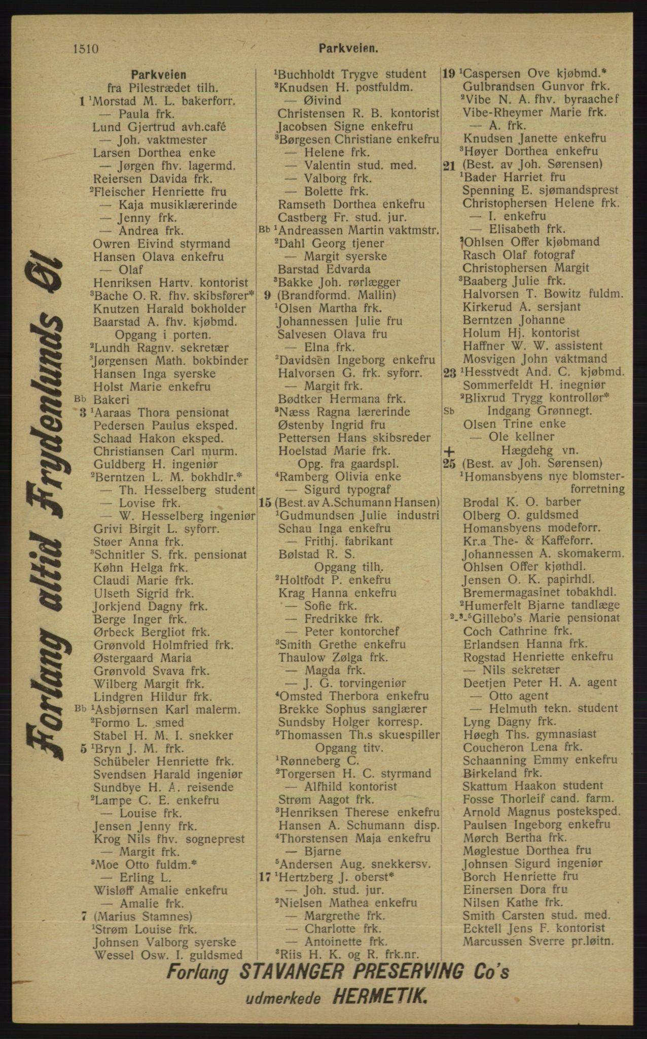 RA, Kristiania adressebok (publikasjon)*, 1913, s. 1510