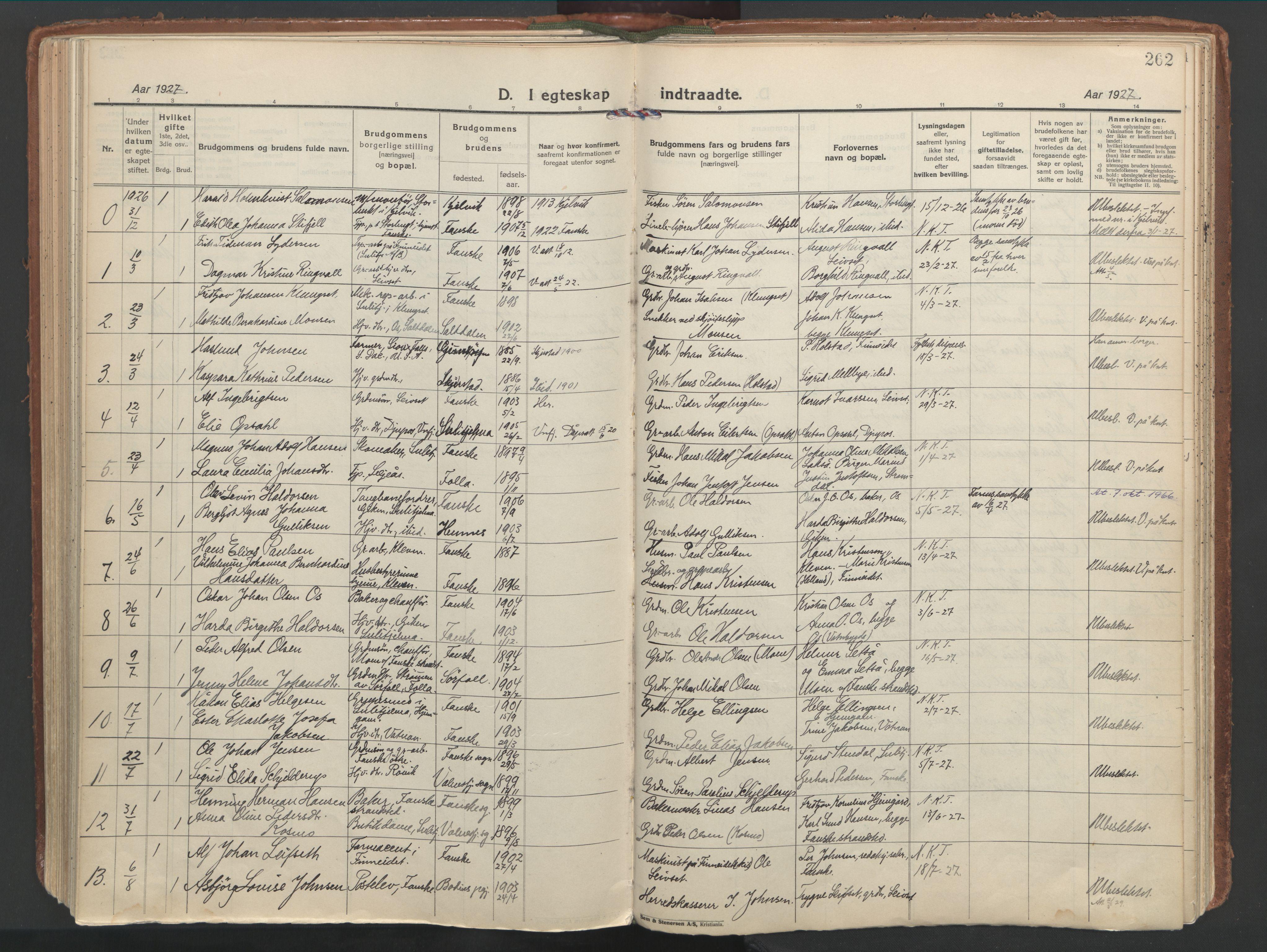 SAT, Ministerialprotokoller, klokkerbøker og fødselsregistre - Nordland, 849/L0699: Ministerialbok nr. 849A10, 1924-1937, s. 262