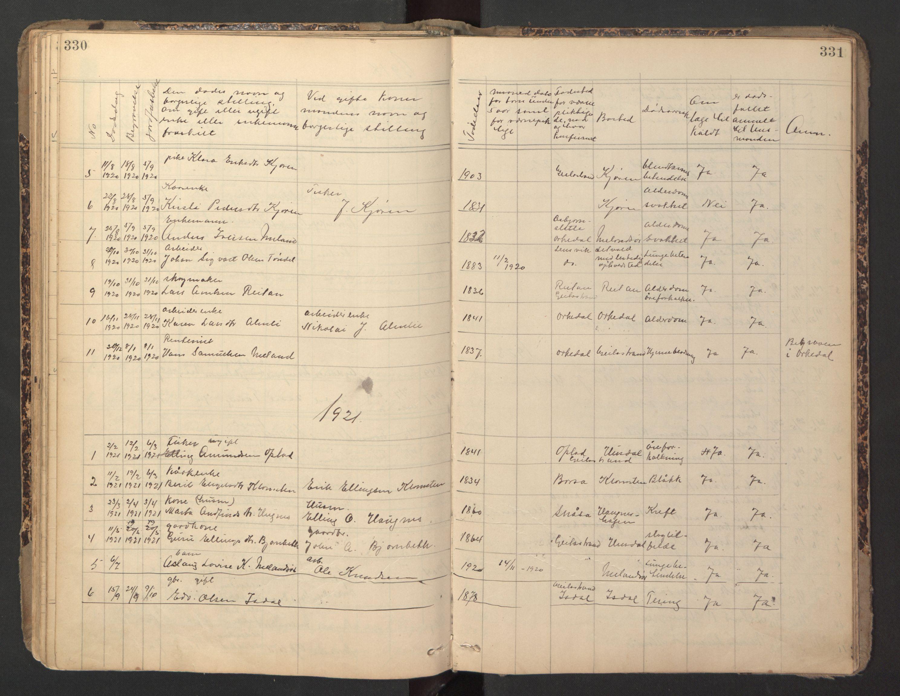 SAT, Ministerialprotokoller, klokkerbøker og fødselsregistre - Sør-Trøndelag, 670/L0837: Klokkerbok nr. 670C01, 1905-1946, s. 330-331