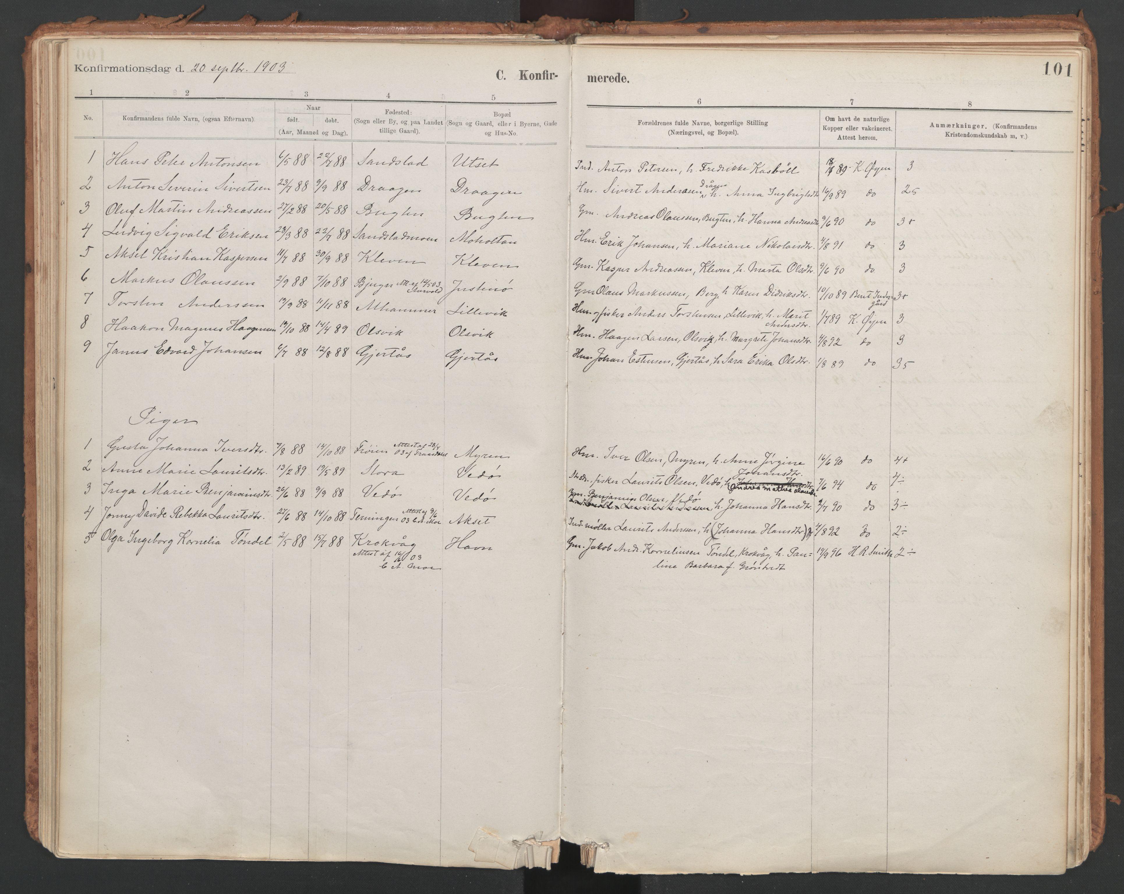 SAT, Ministerialprotokoller, klokkerbøker og fødselsregistre - Sør-Trøndelag, 639/L0572: Ministerialbok nr. 639A01, 1890-1920, s. 101