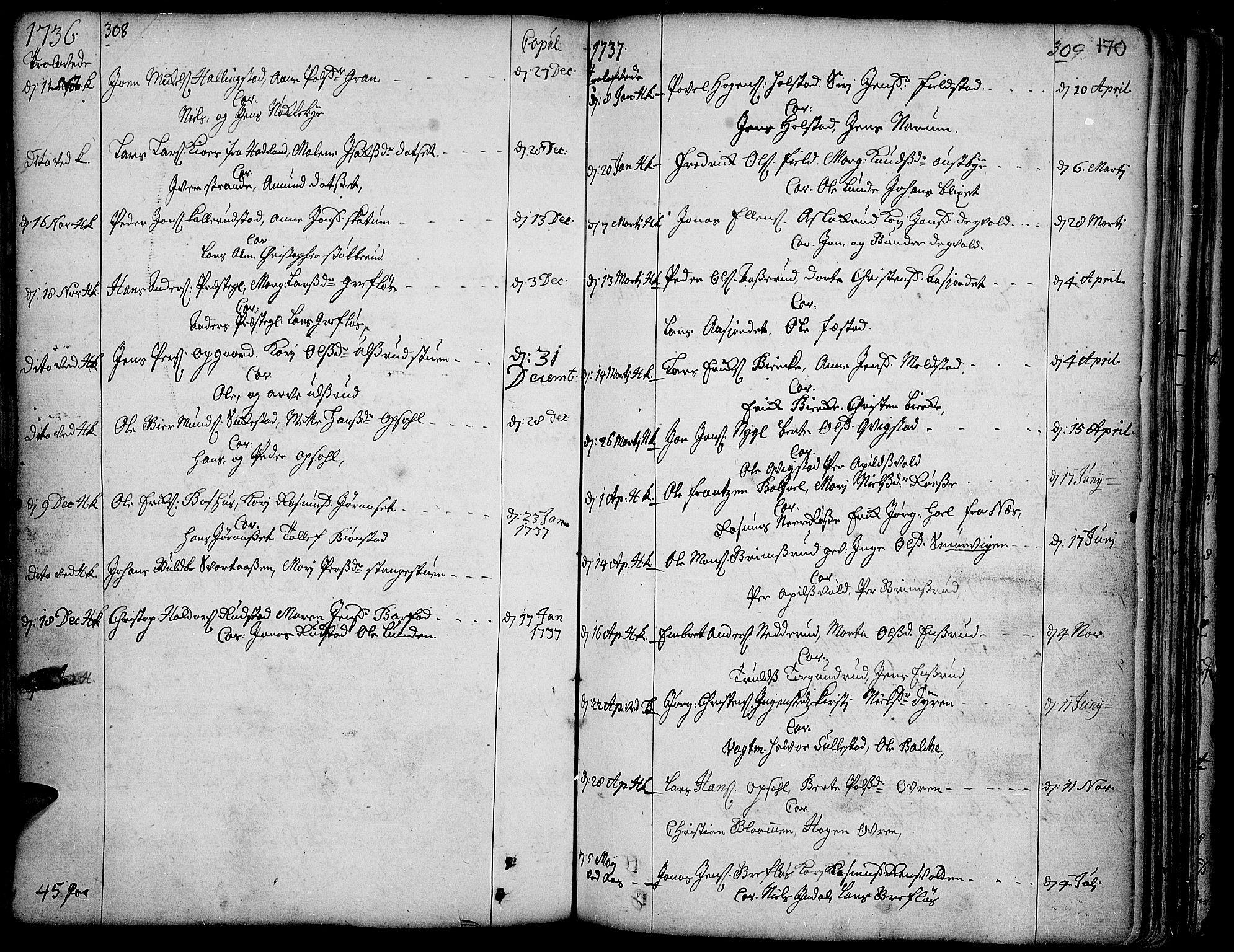 SAH, Toten prestekontor, Ministerialbok nr. 3, 1734-1751, s. 308-309