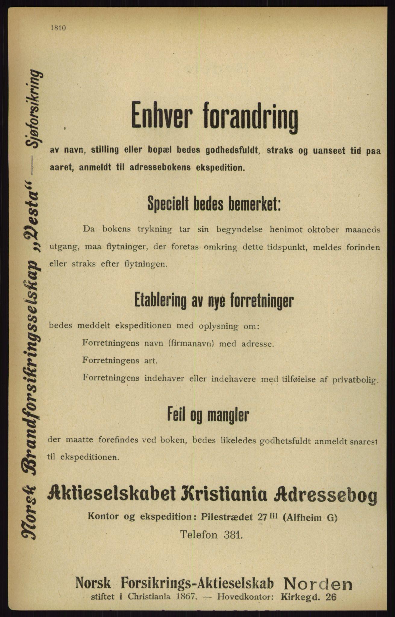 RA, Kristiania adressebok (publikasjon)*, 1916, s. 1810